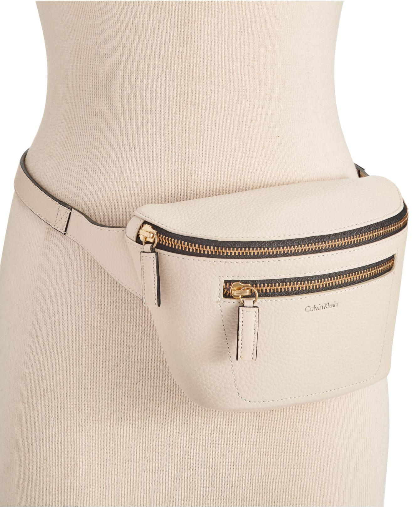 Lyst - CALVIN KLEIN 205W39NYC Pebble Leather Belt Bag in White dcdaaa49d6c