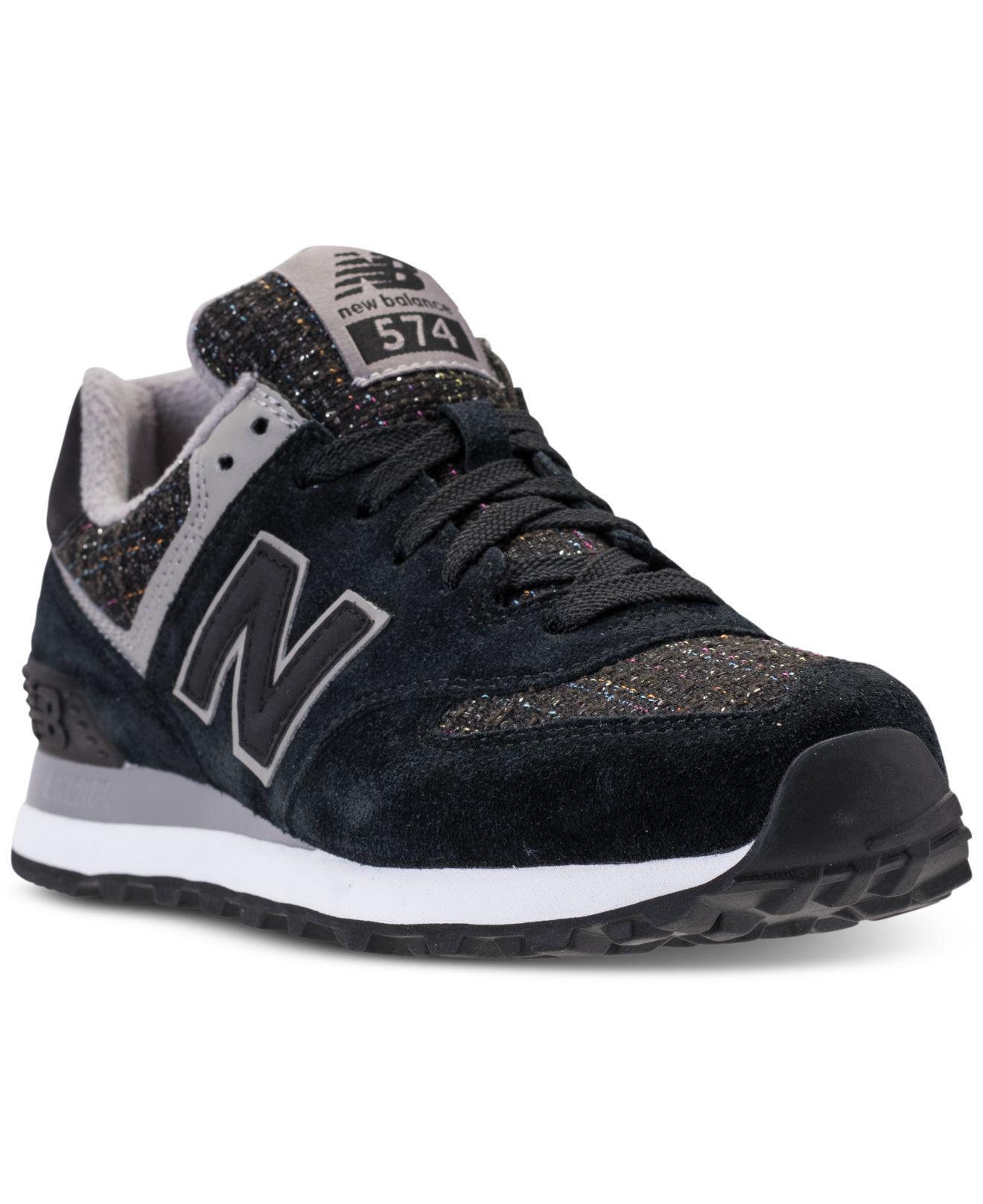 women's new balance 574 athletic shoe black monochrome
