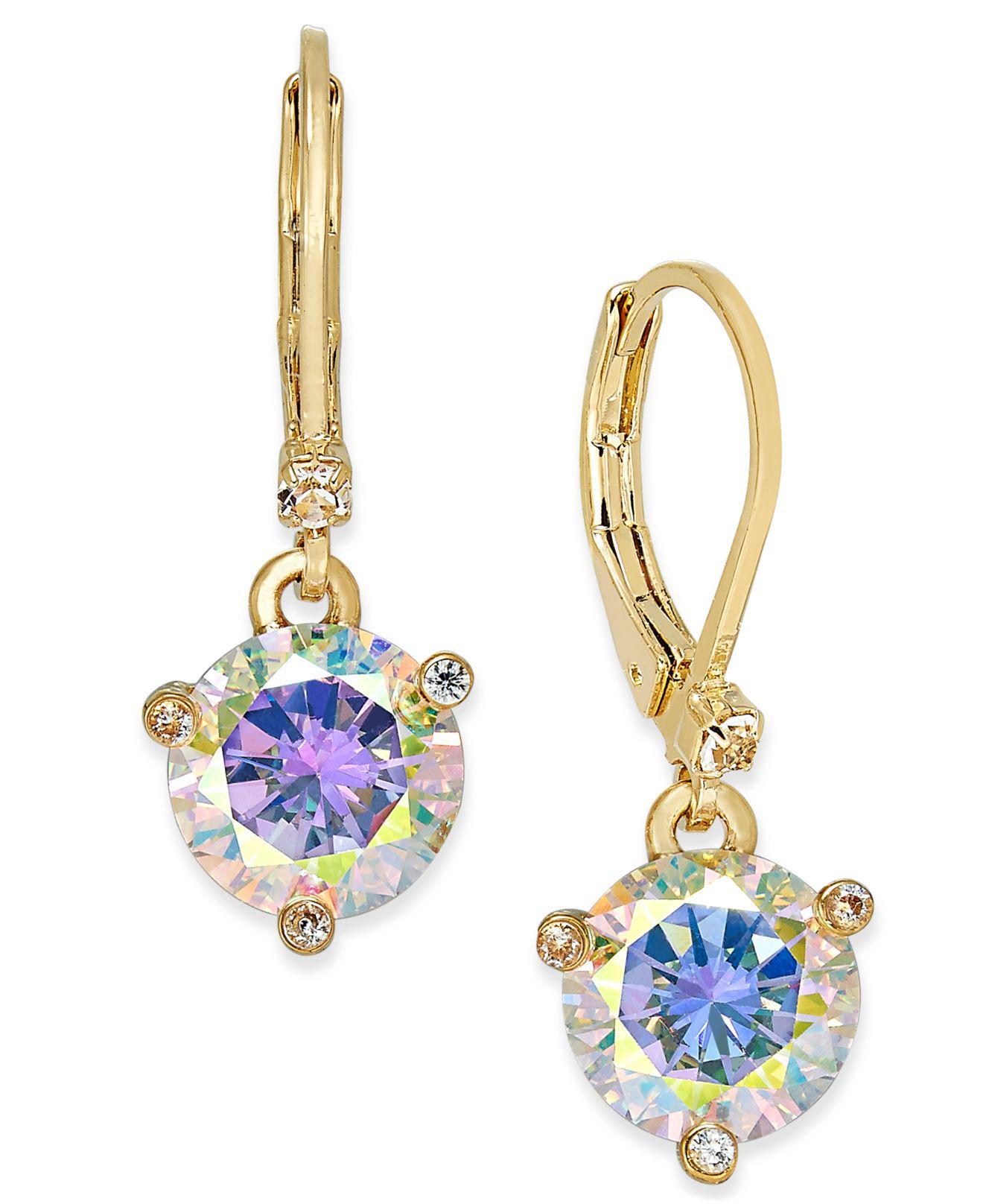 3abccf22d94e0 Kate Spade Gold-tone Blue Crystal Drop Earrings in Metallic - Lyst