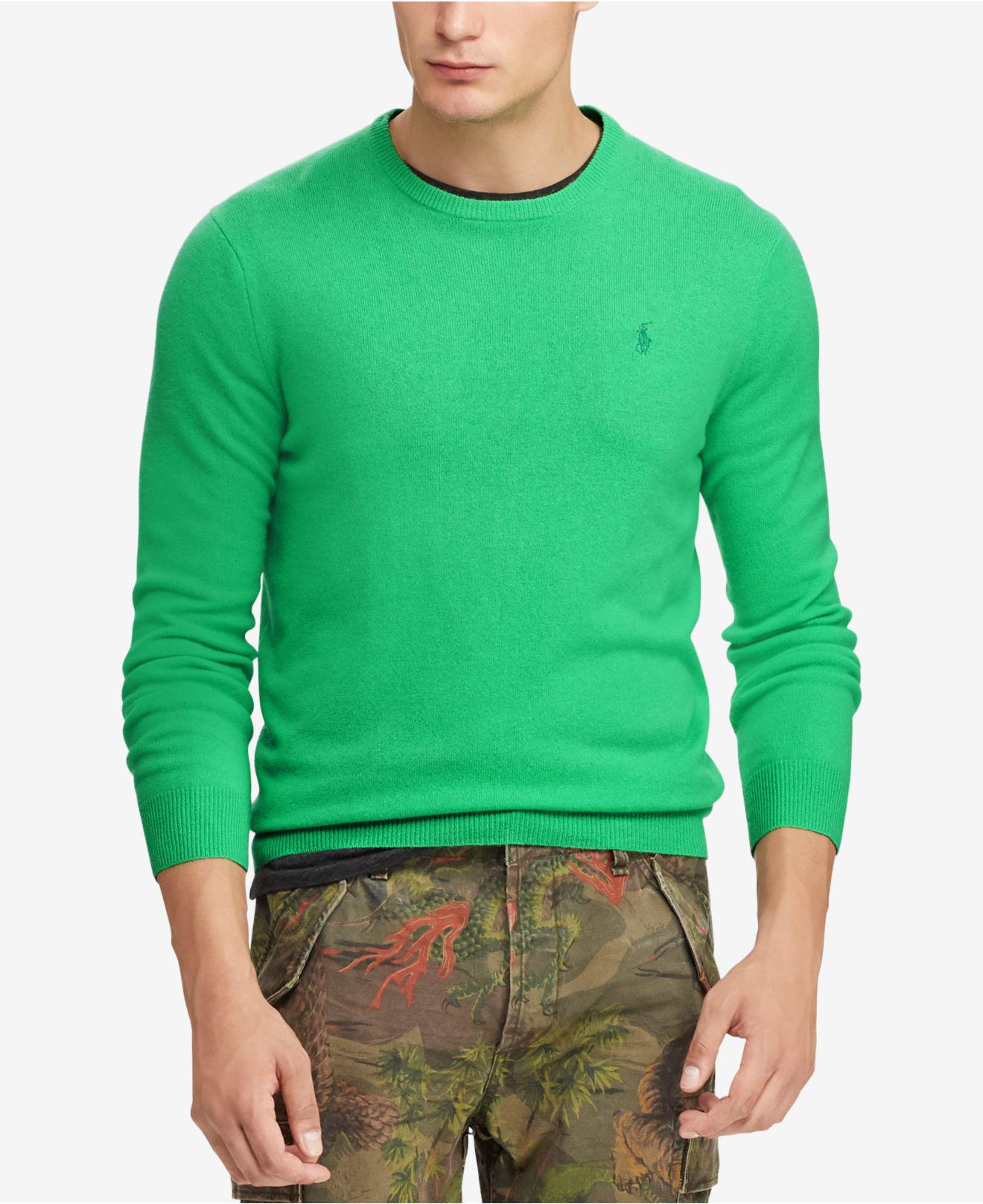 66fcdf0963e15 Lyst - Polo Ralph Lauren Cashmere Crew Neck Sweater in Green for Men