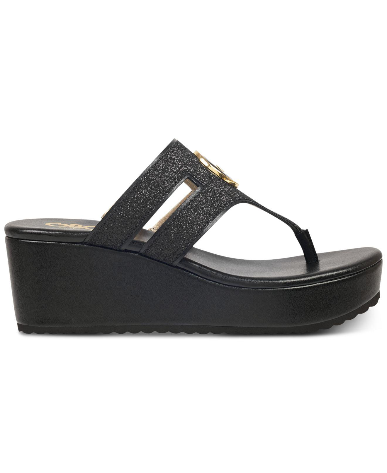 016ae8fcd Lyst - G by Guess Gandy Wedge Sandals in Black