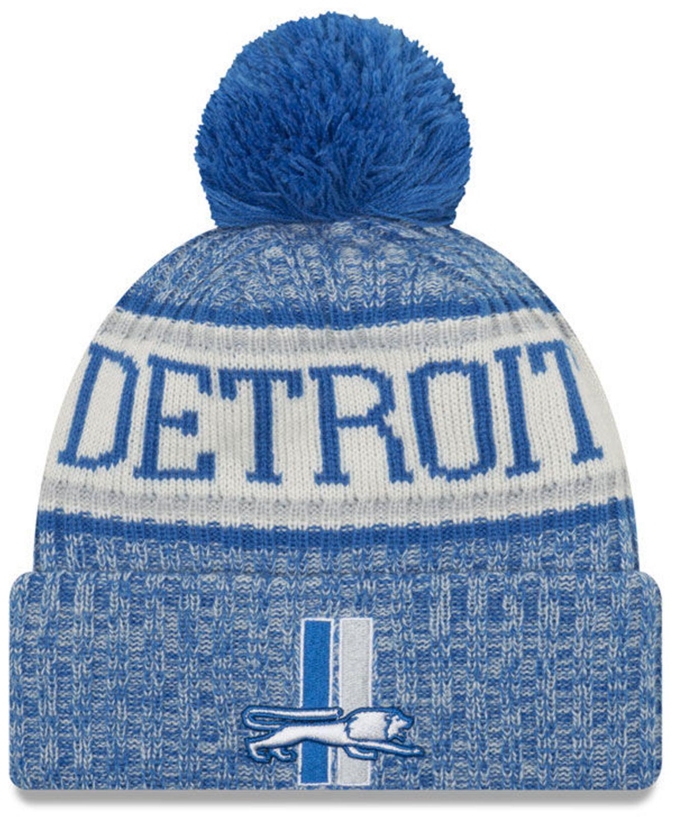 52fa7eee26283 Lyst - Ktz Detroit Lions Sport Knit Hat in Blue