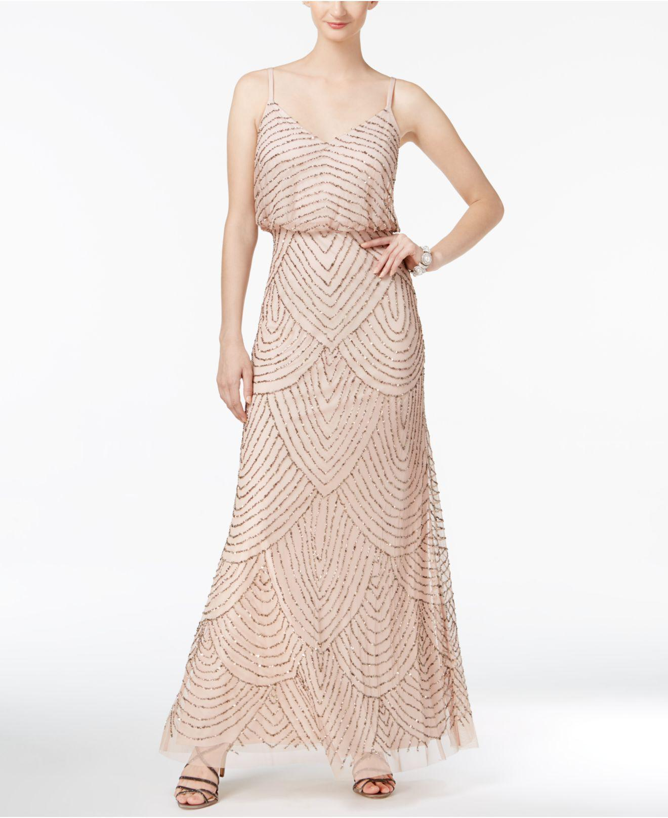 Lyst Adrianna Papell Spaghetti Strap Beaded Blouson Gown