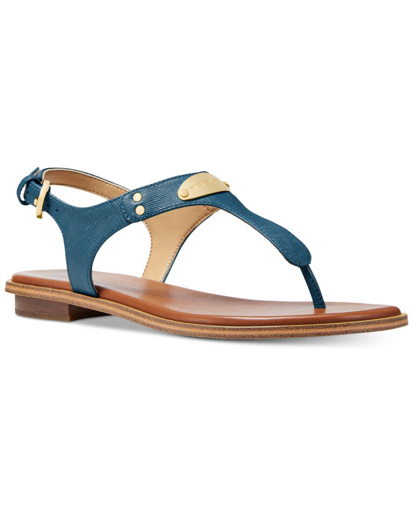 2829d5f3a623 Michael Kors Mk Plate Flat Thong Sandals in Blue - Save 55% - Lyst