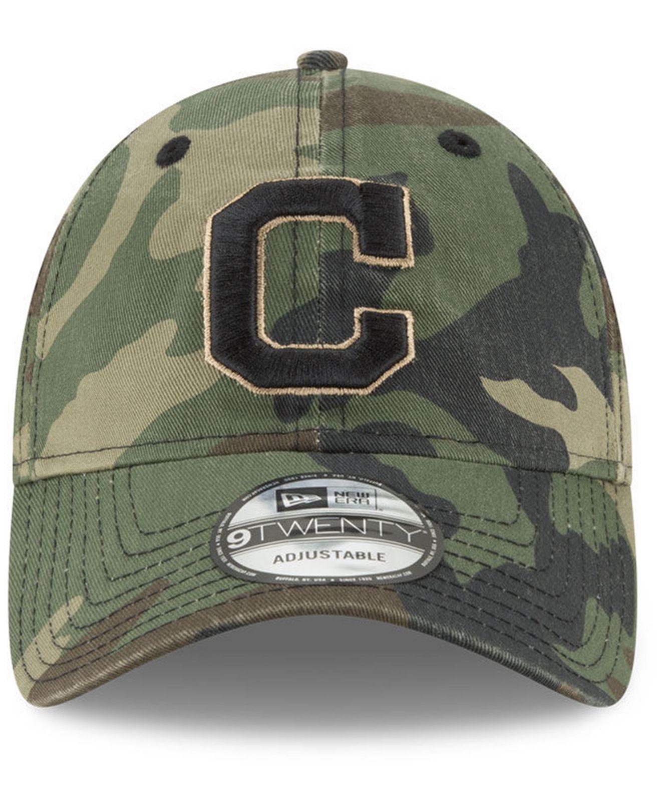 uk availability 40a17 3567a ... wholesale lyst ktz cleveland indians camo core classic 9twenty cap in  green for men e63fd d4061