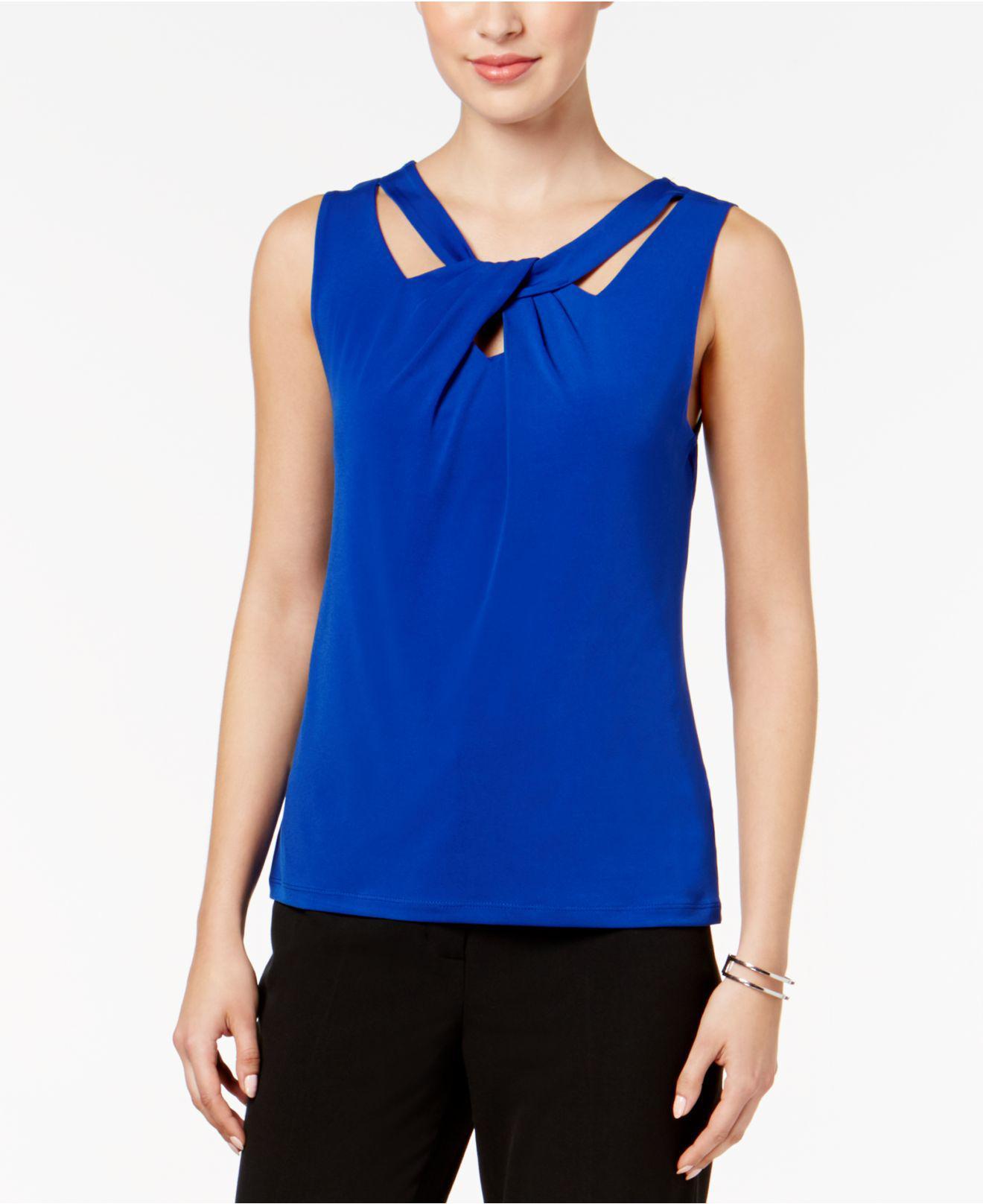 881bca4c23891 Lyst - Nine West Sleeveless Cutout Twist-front Top in Blue