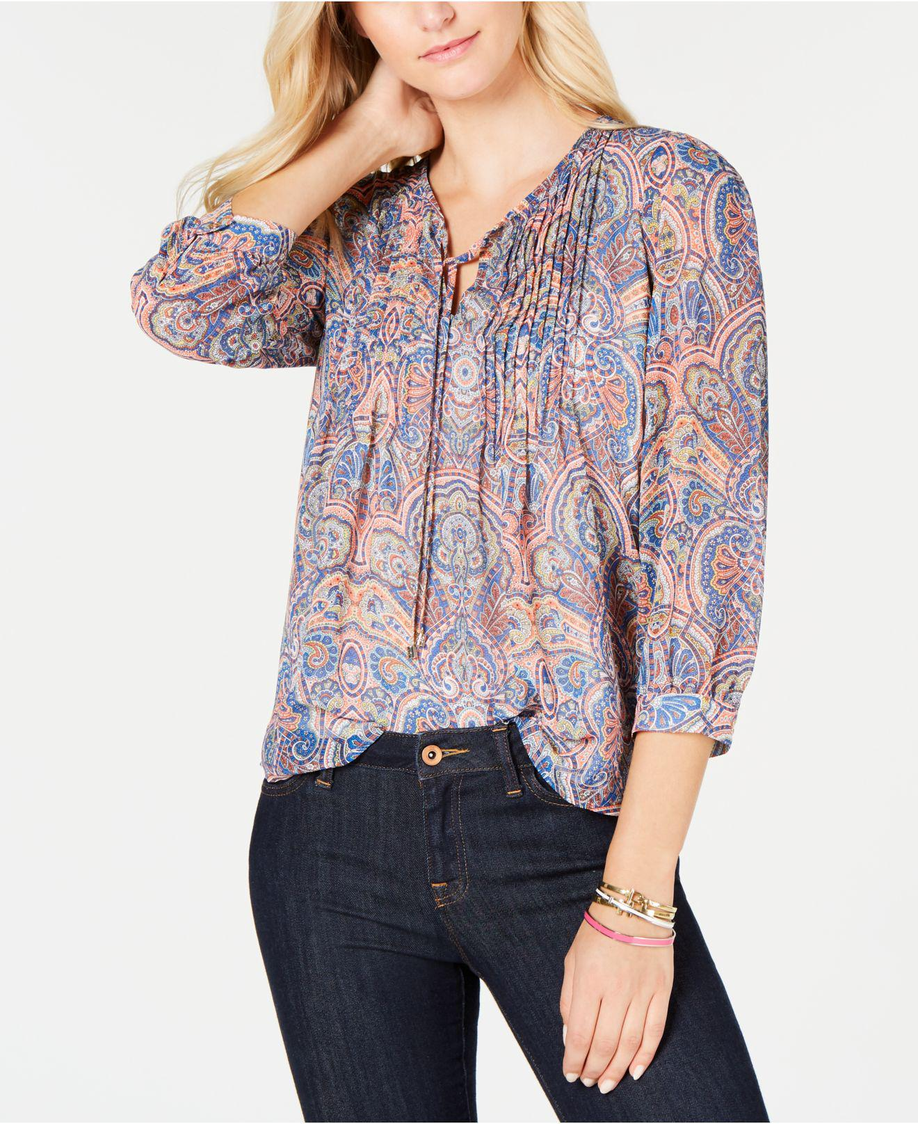 9f04d4b8bbe6c6 Tommy Hilfiger. Women s Paisley-print Pintucked Blouse ...