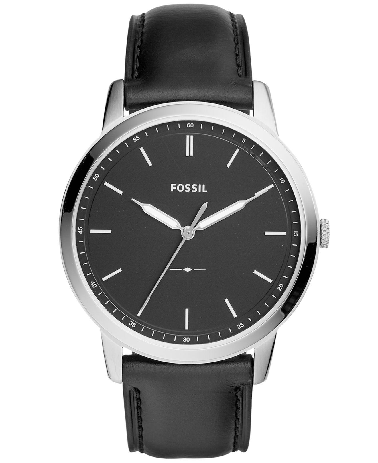 eb2165627e73 Fossil - Men s Minimalist Black Leather Strap Watch 44mm for Men - Lyst.  View fullscreen