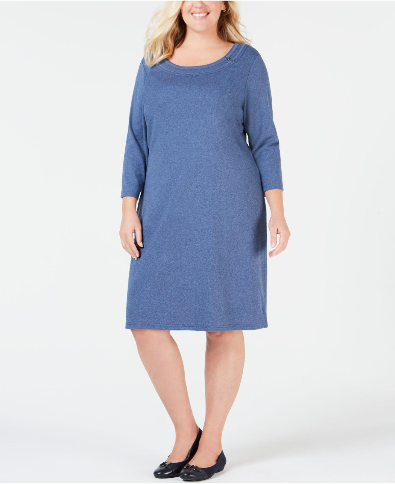 9ba6ecf1520 Karen Scott. Women s Plus Size Cotton Scoop-neck Dress