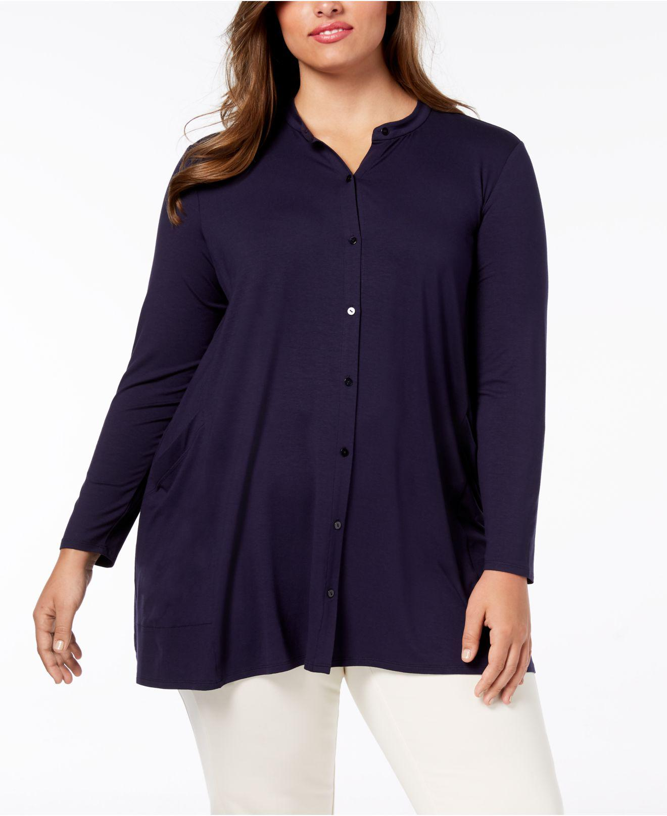83b1951ddc307 Lyst - Eileen Fisher Plus-size Stretch Jersey Mandarin-collar Tunic ...