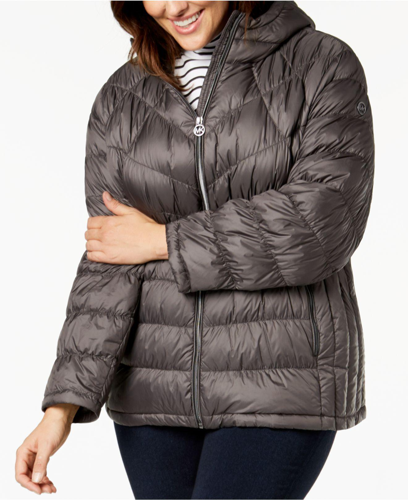c32b156a5399 Michael Kors Michael Plus Size Hooded Puffer Coat in Gray - Lyst
