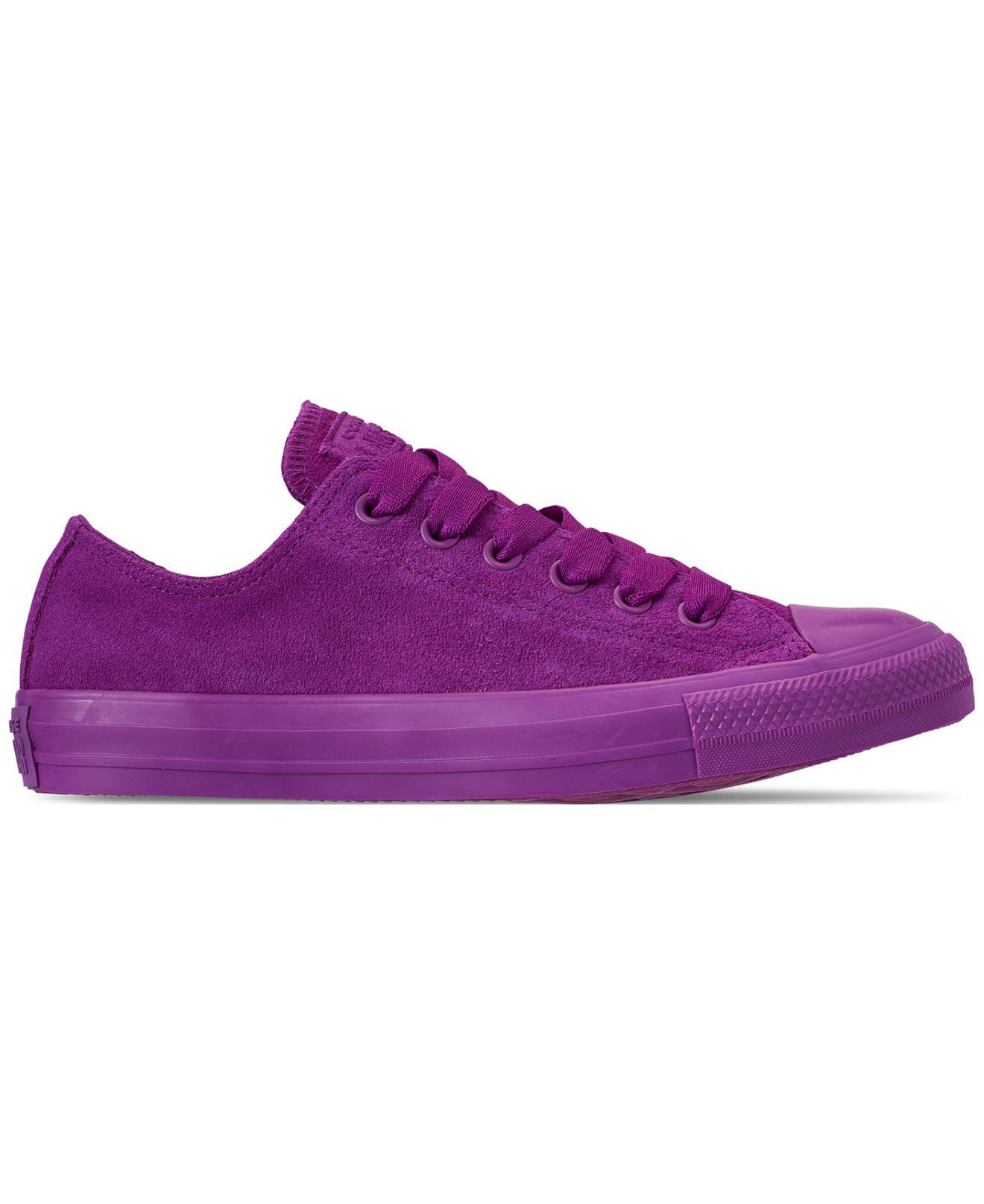 e27e78ce0f1 Lyst - Converse Unisex Chuck Taylor All Star Suede Mono Color Low Top  Casual Sneakers From Finish Line in Purple