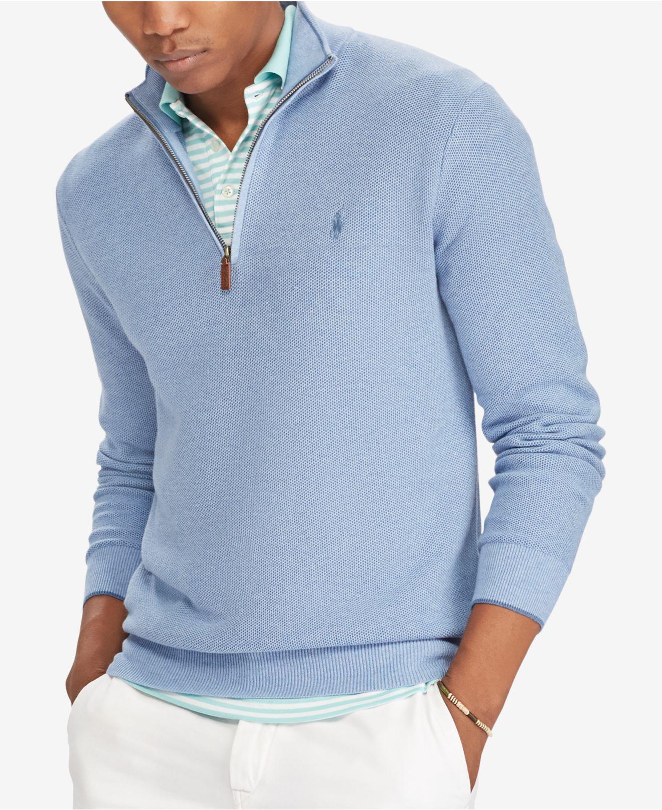 Polo ralph lauren Men's Half-zip Sweater in Blue for Men | Lyst