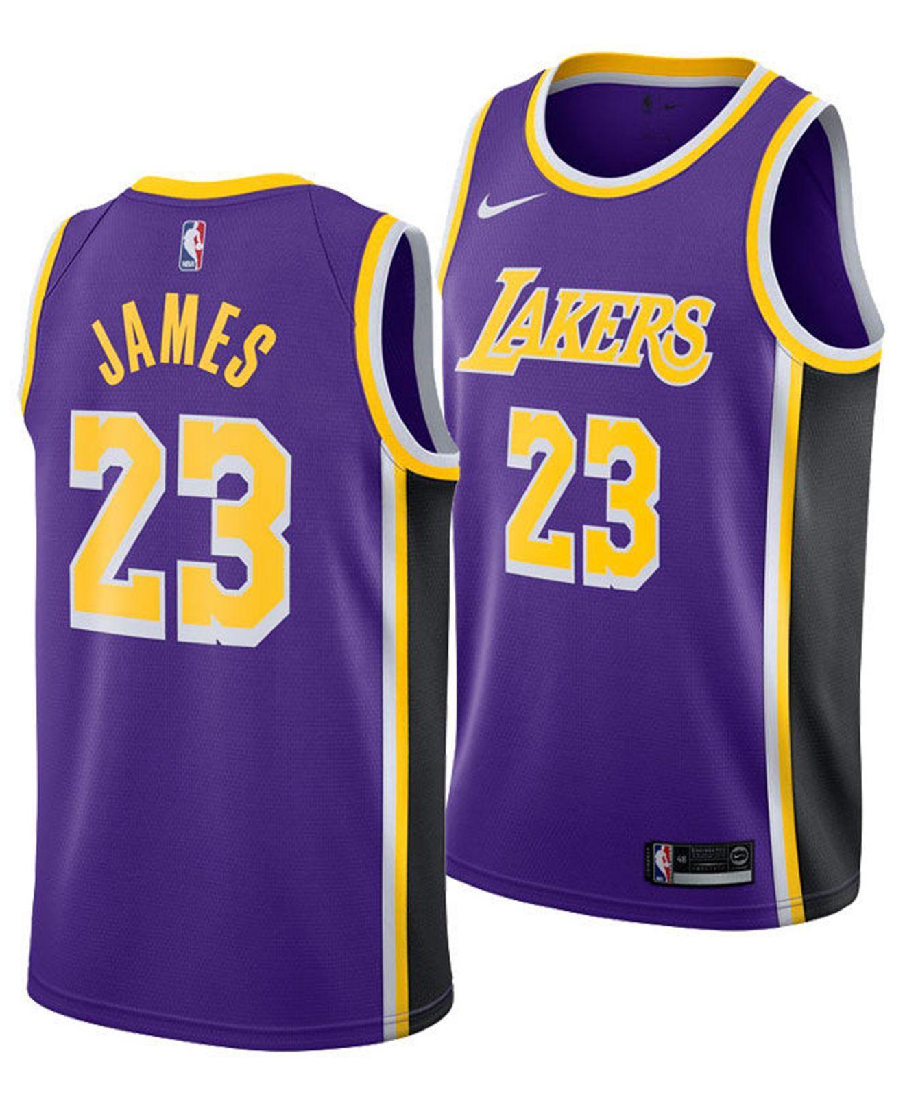 4bdf7af75358 Nike. Purple Lebron James Los Angeles Lakers Statement Swingman Jersey