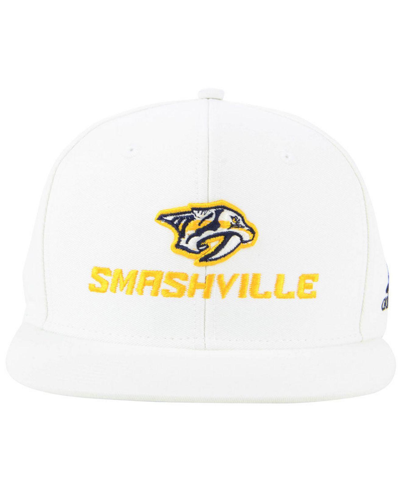 Lyst - adidas Nashville Predators Smash Snapback Cap in White for Men 87e32739e8f7