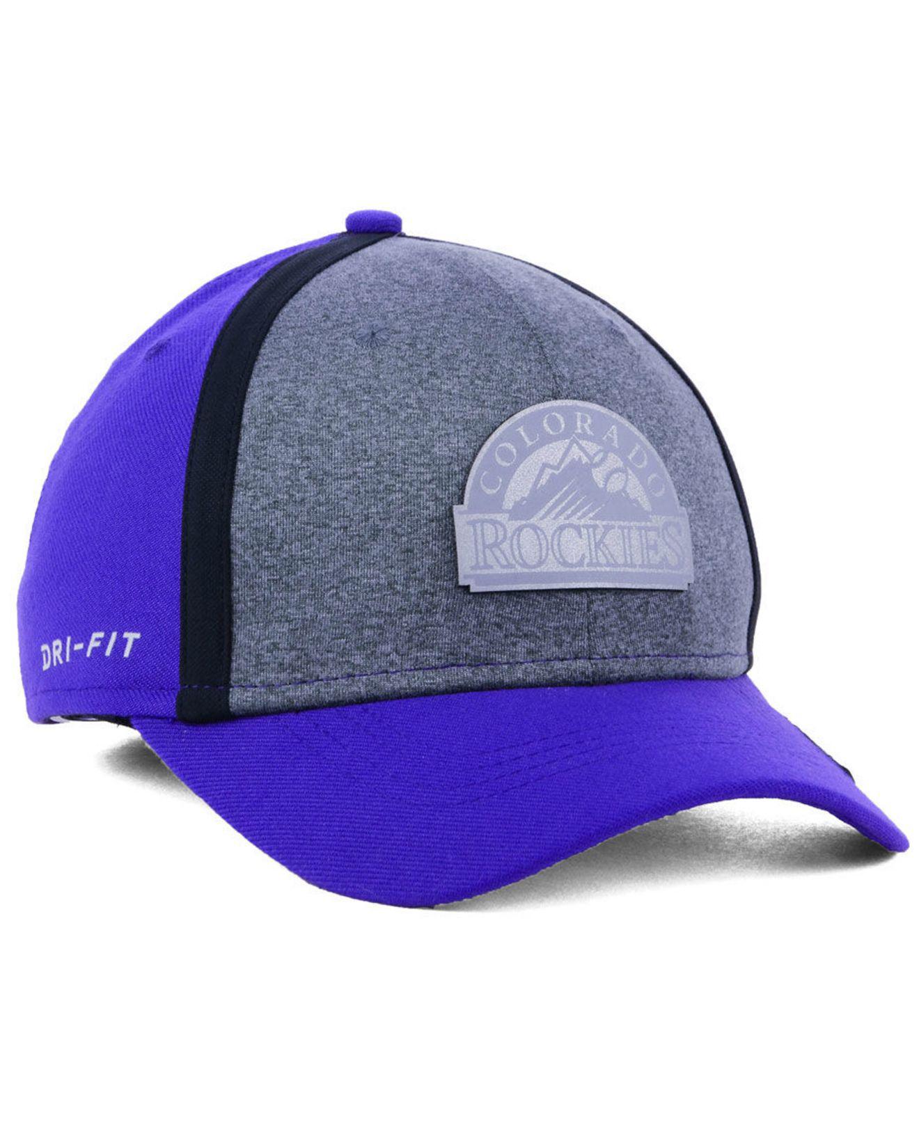 new product b1bbc b2ce8 ... top quality nike blue colorado rockies team color reflective swooshflex  cap for men lyst. view
