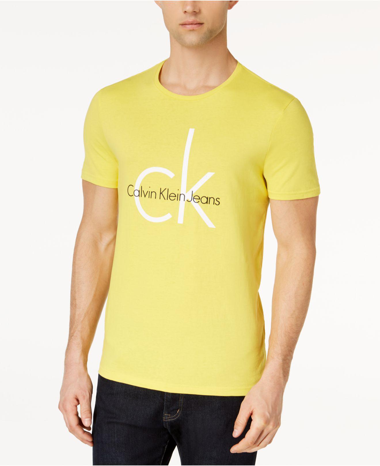 ed4166460a0d Calvin Klein Classic Ck Logo-print T-shirt in Yellow for Men - Lyst