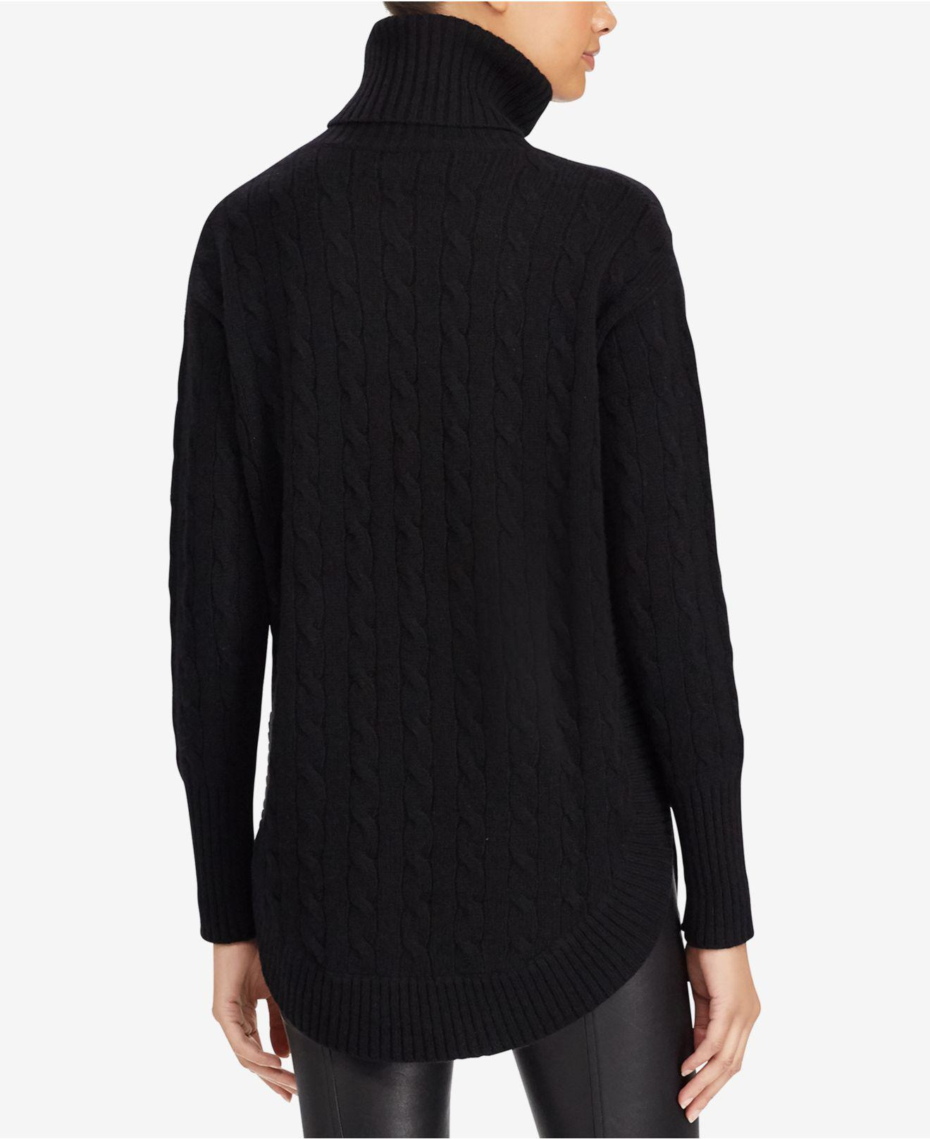 Polo ralph lauren Cable-knit Turtleneck Sweater in Black | Lyst
