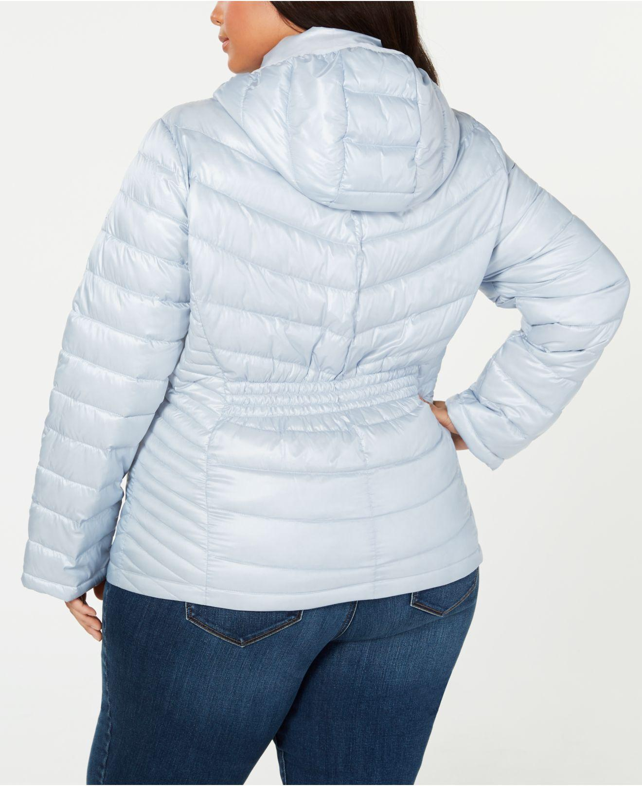 868df9d1783 Lyst - Calvin Klein Plus Size Hooded Packable Puffer Coat in Blue