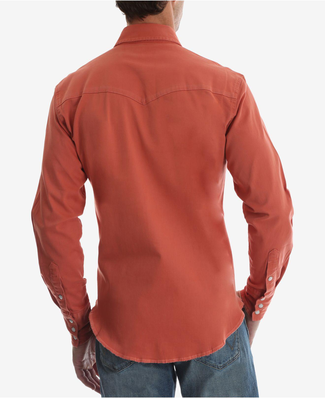 be0d5a1177605a Lyst - Wrangler Authentic Western Long Sleeve Twill Shirt in Red for Men