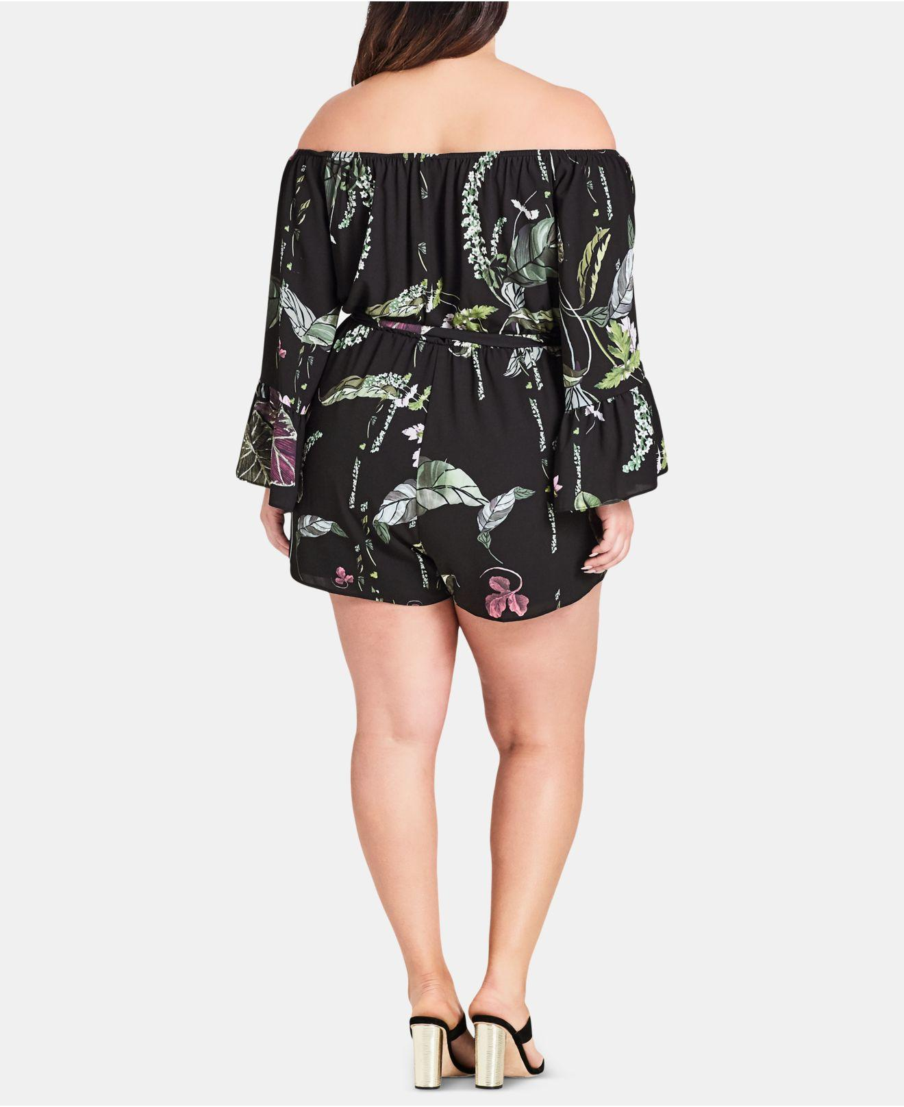 49513dd57d Lyst - City Chic Trendy Plus Size Lily Pad Romper in Black