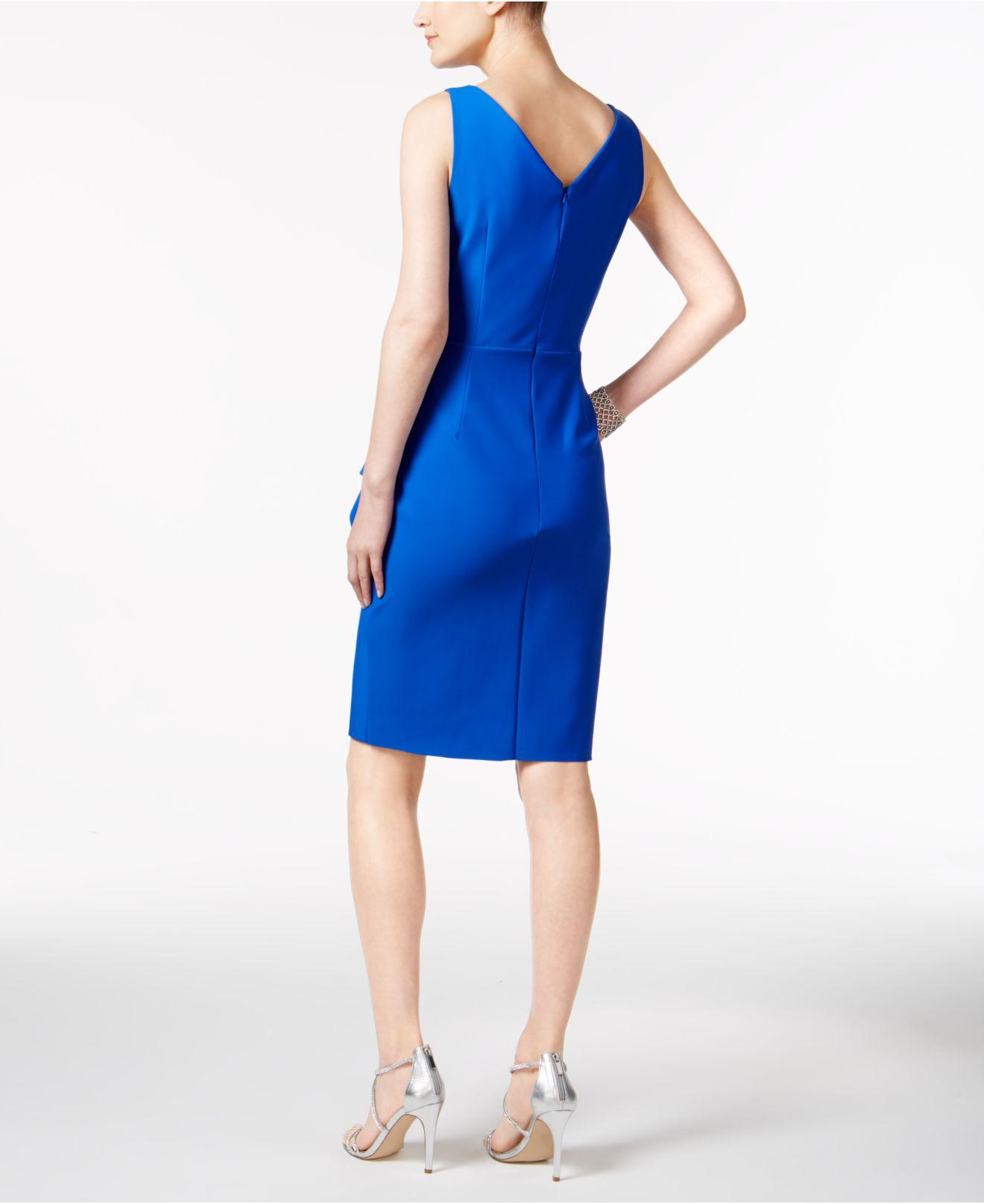 71494c589b Lyst - Alex Evenings Compression Embellished Ruched Sheath Dress in Blue -  Save 26%