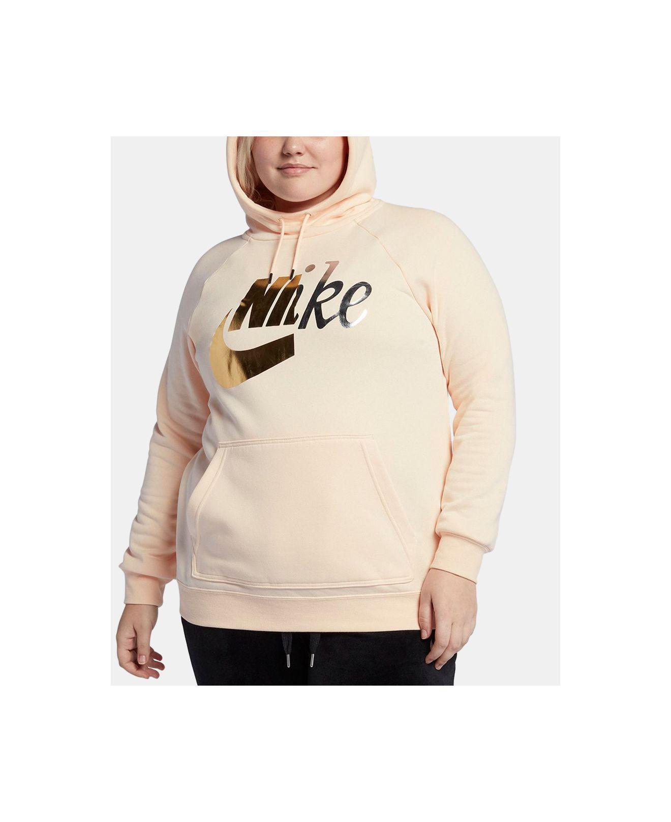 2ea3d2c32f3 Lyst - Nike Plus Size Sportswear Rally Metallic-logo Hoodie in Natural