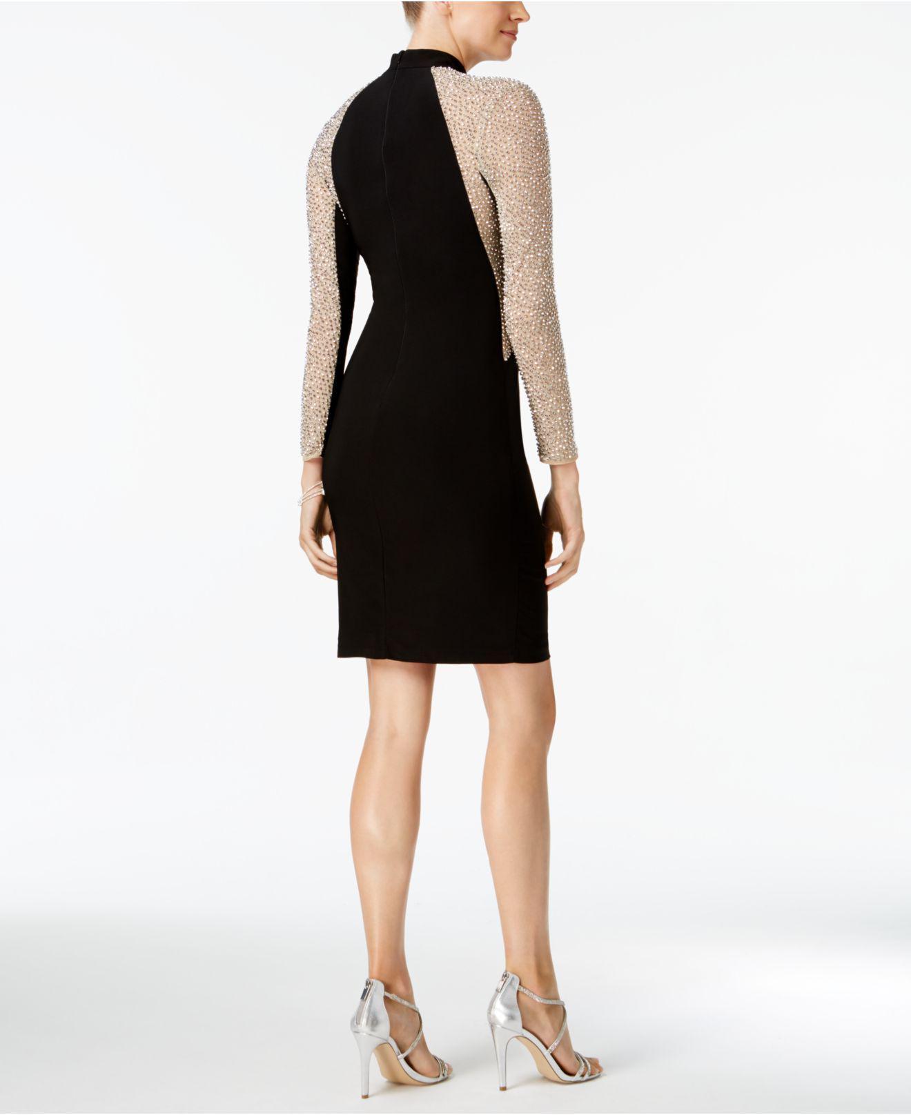 89de46bc385 Lyst - Xscape Studded Illusion Choker Sheath Dress in Black