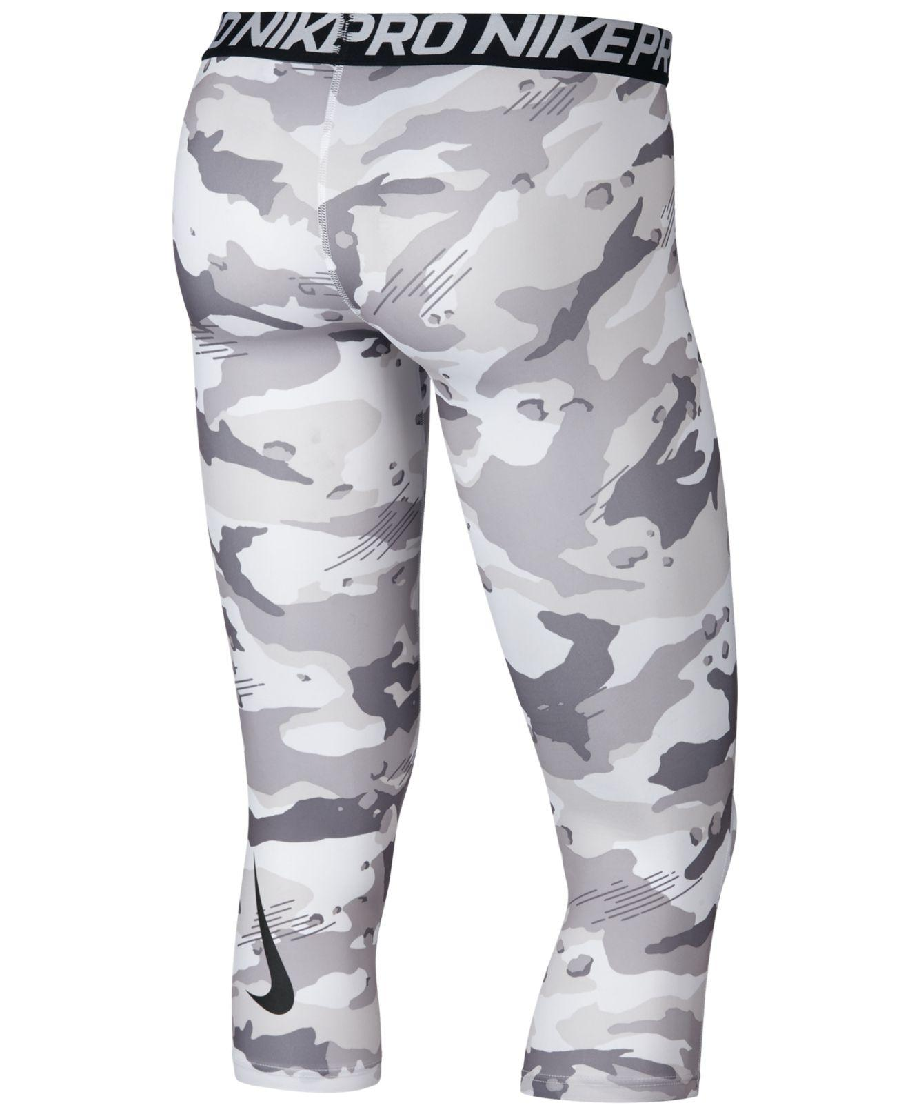84b937b15137e1 Nike Pro Camo-print Compression Cropped Tights in Gray for Men - Lyst