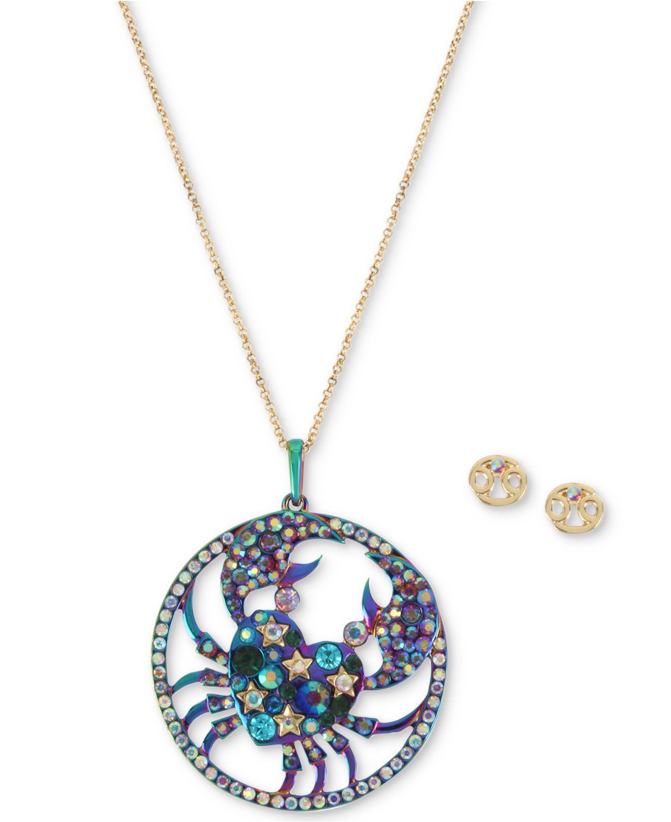 Lyst betsey johnson two tone multi stone cancer zodiac pendant cancer zodiac pendant necklace stud view fullscreen aloadofball Gallery