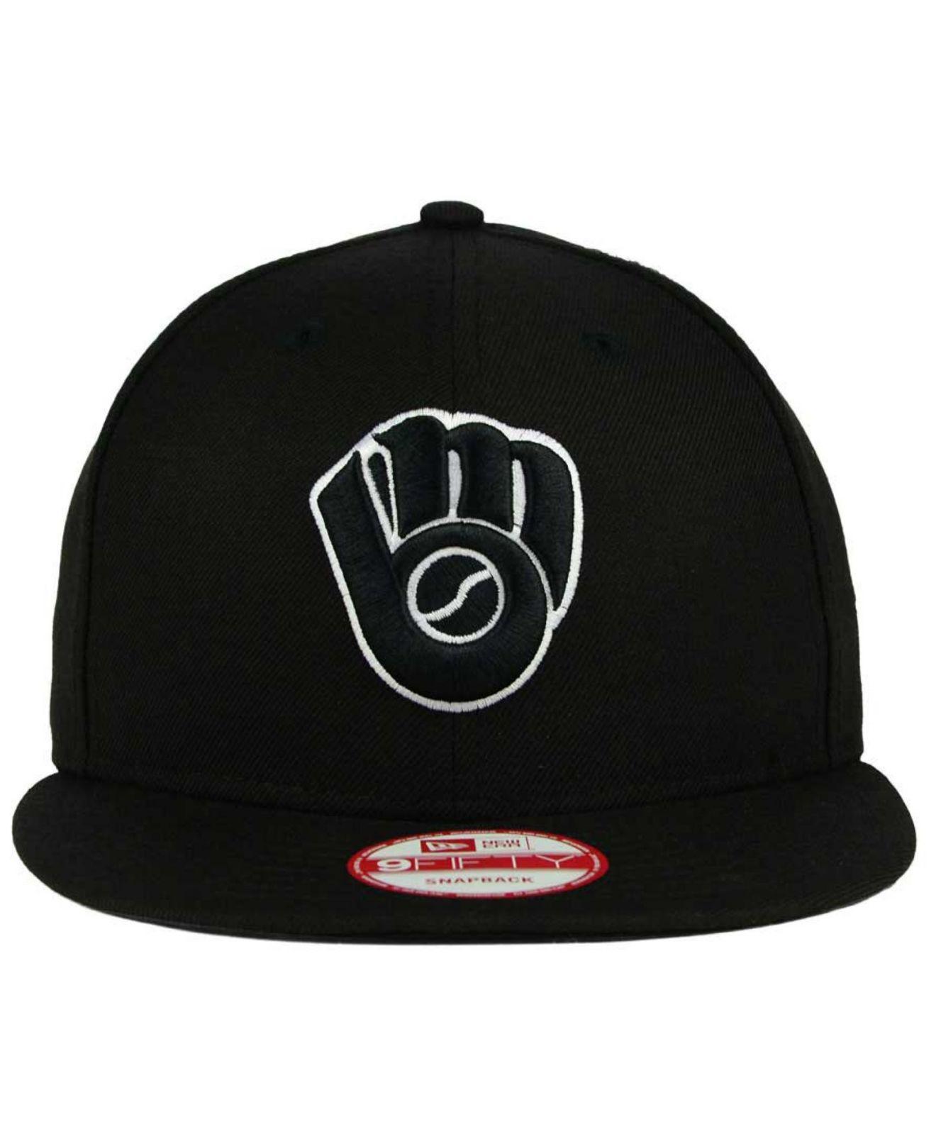 7059c138 KTZ Milwaukee Brewers B-dub 9fifty Snapback Cap in Black for Men - Lyst