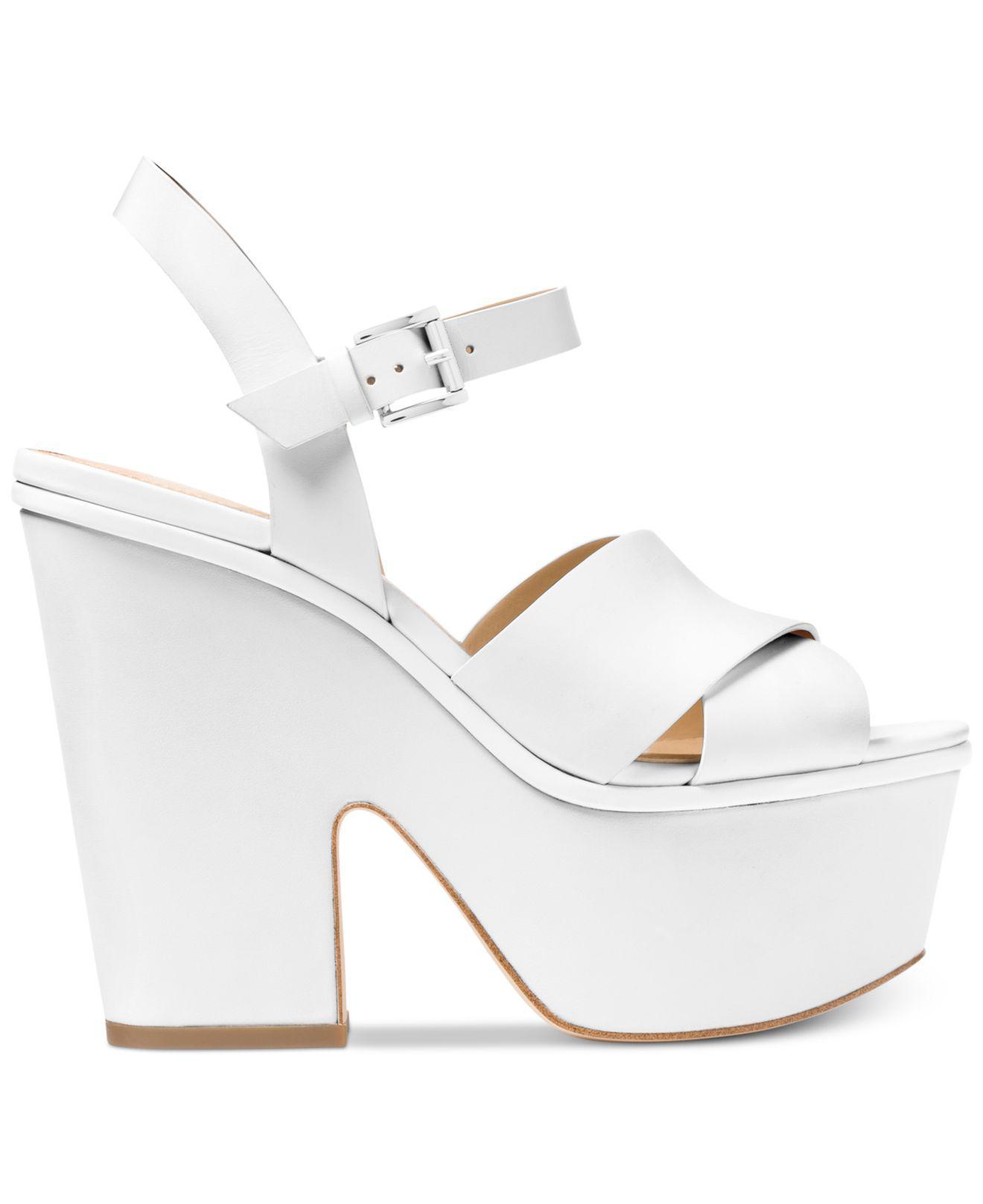 1e6b0f235cc Michael Kors Michael Divia Wedge Sandals in White - Lyst