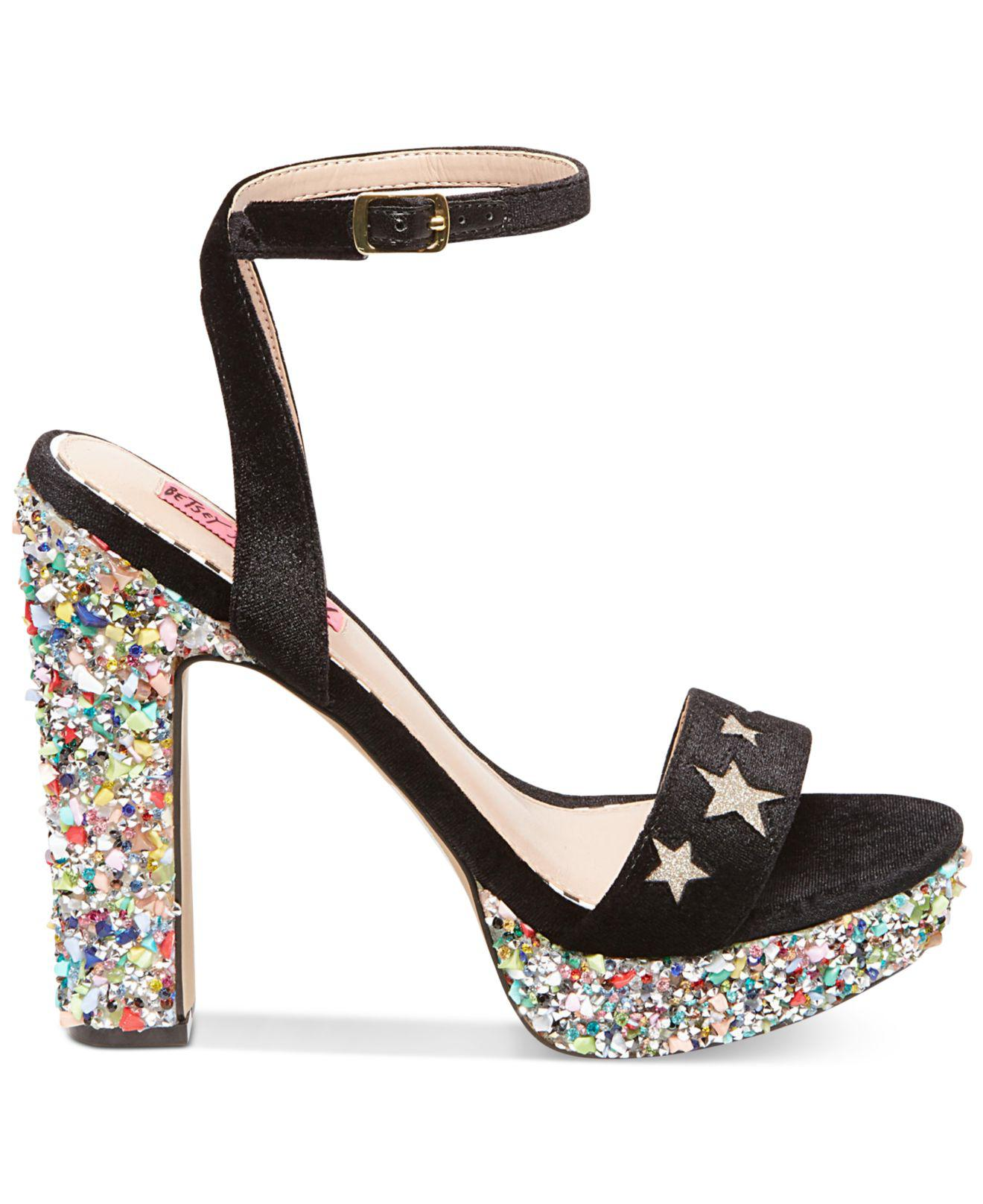 b24848f38d Betsey Johnson Kenna Platform Block-heel Sandals in Black - Lyst