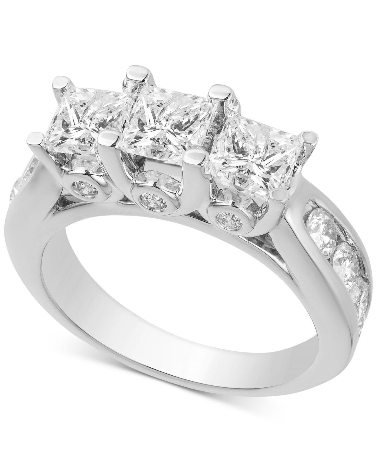 Macy'S Diamond Princess Three Stone Engagement Ring