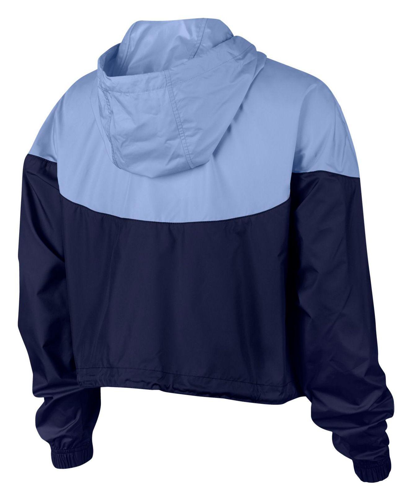 Lyst - Nike Sportswear Cropped Hooded Windbreaker in Blue 4a1a9f0a3