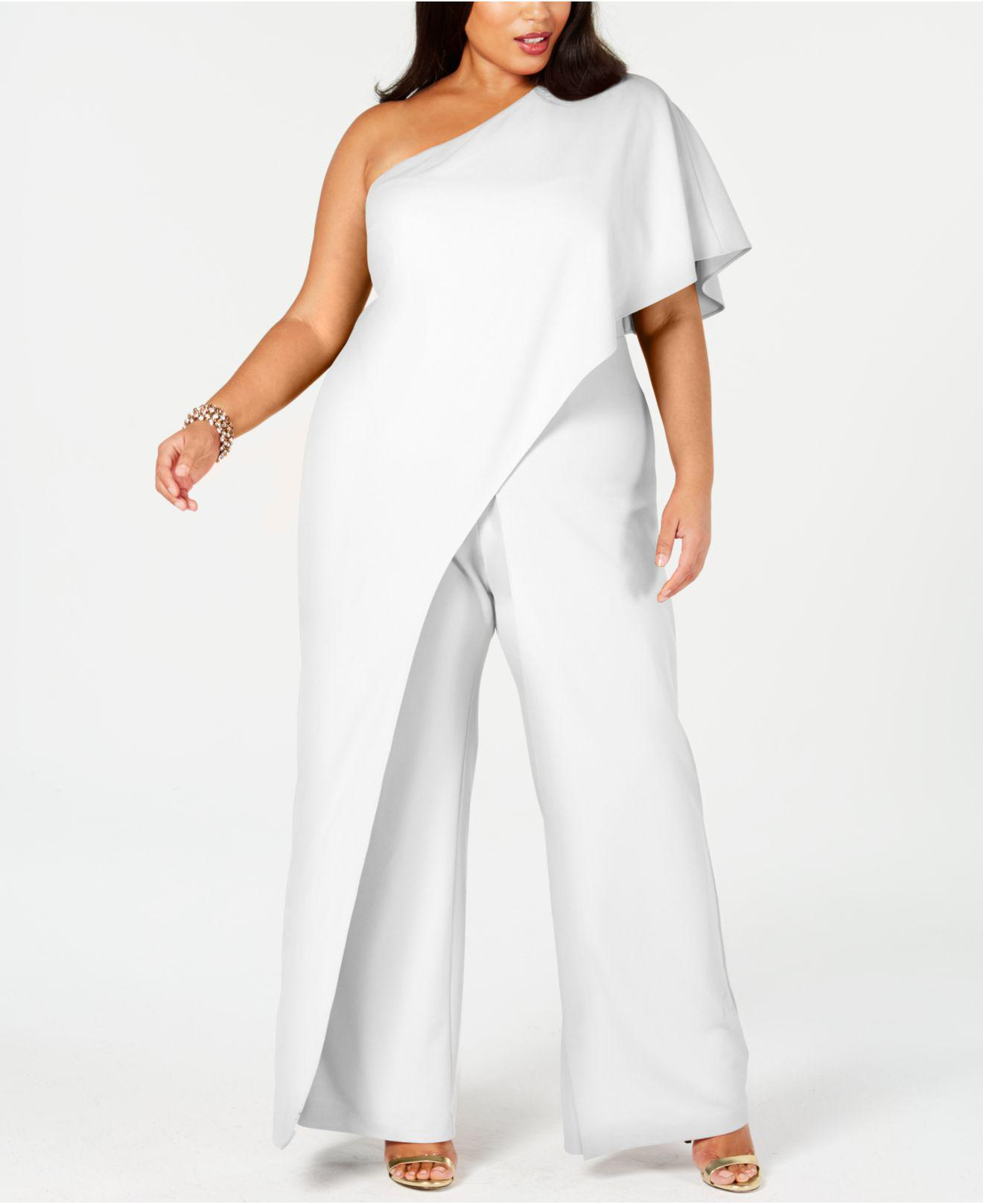 c36071c45480 Lyst - Adrianna Papell Plus Size Draped One-shoulder Jumpsuit in White
