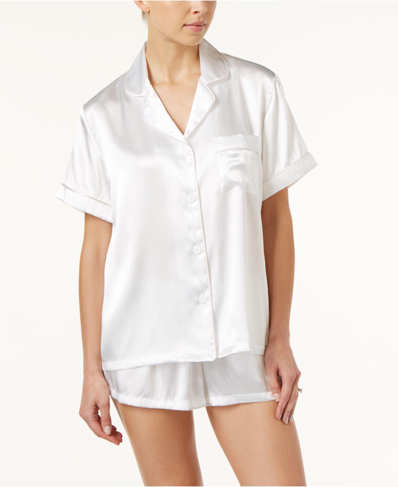 ac12f691bb Lyst - Linea Donatella Bride-embroidered Boyfriend Short Pajama Set in White