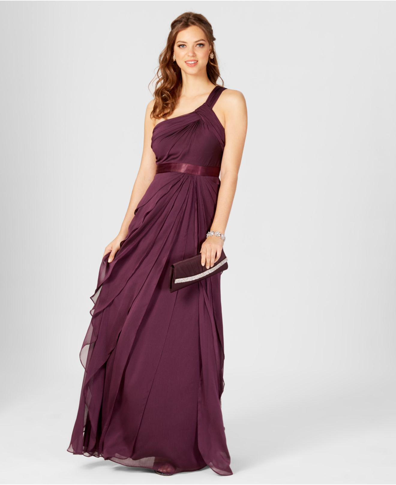6df8ba981022f Lyst - Adrianna Papell One-shoulder Tiered Chiffon Gown in Purple