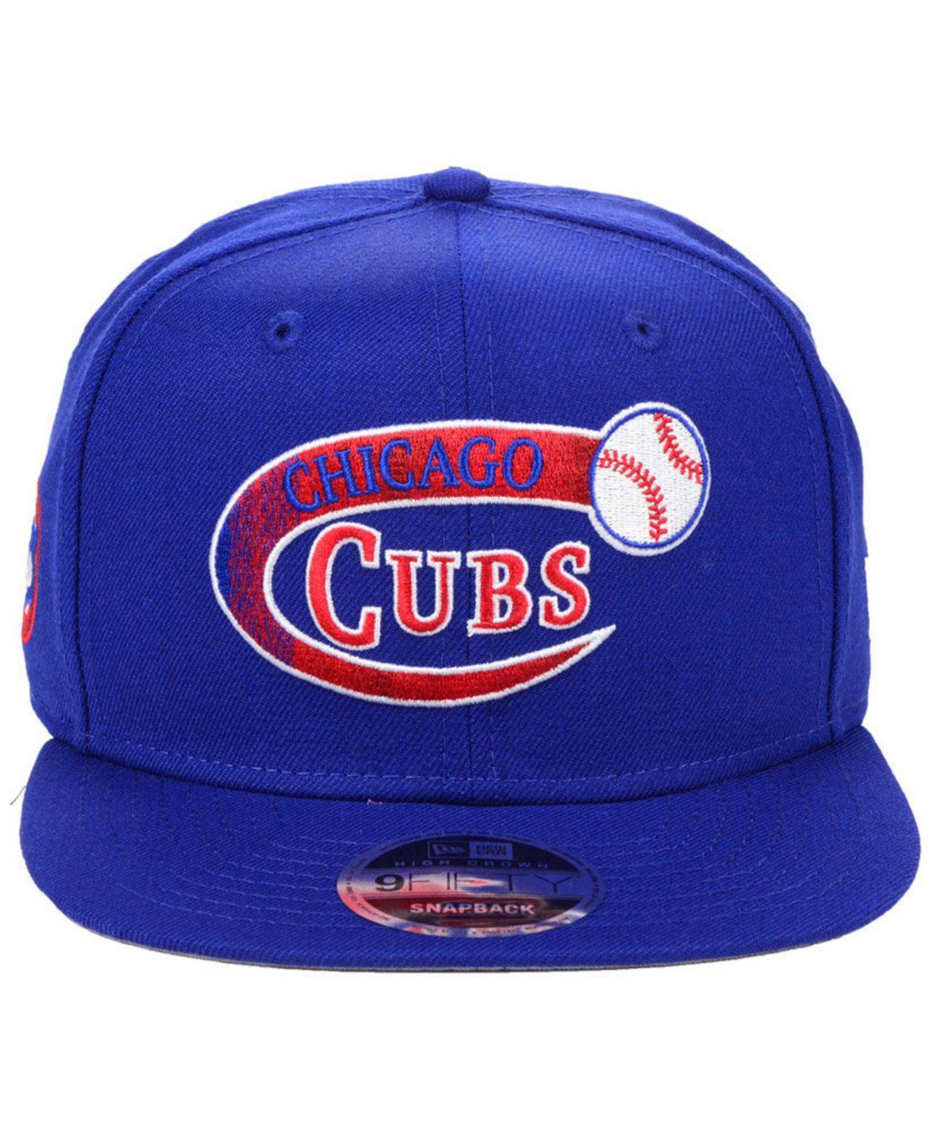 b46acf55cb6ba Lyst - KTZ Chicago Cubs Swoop 9fifty Snapback Cap in Blue for Men