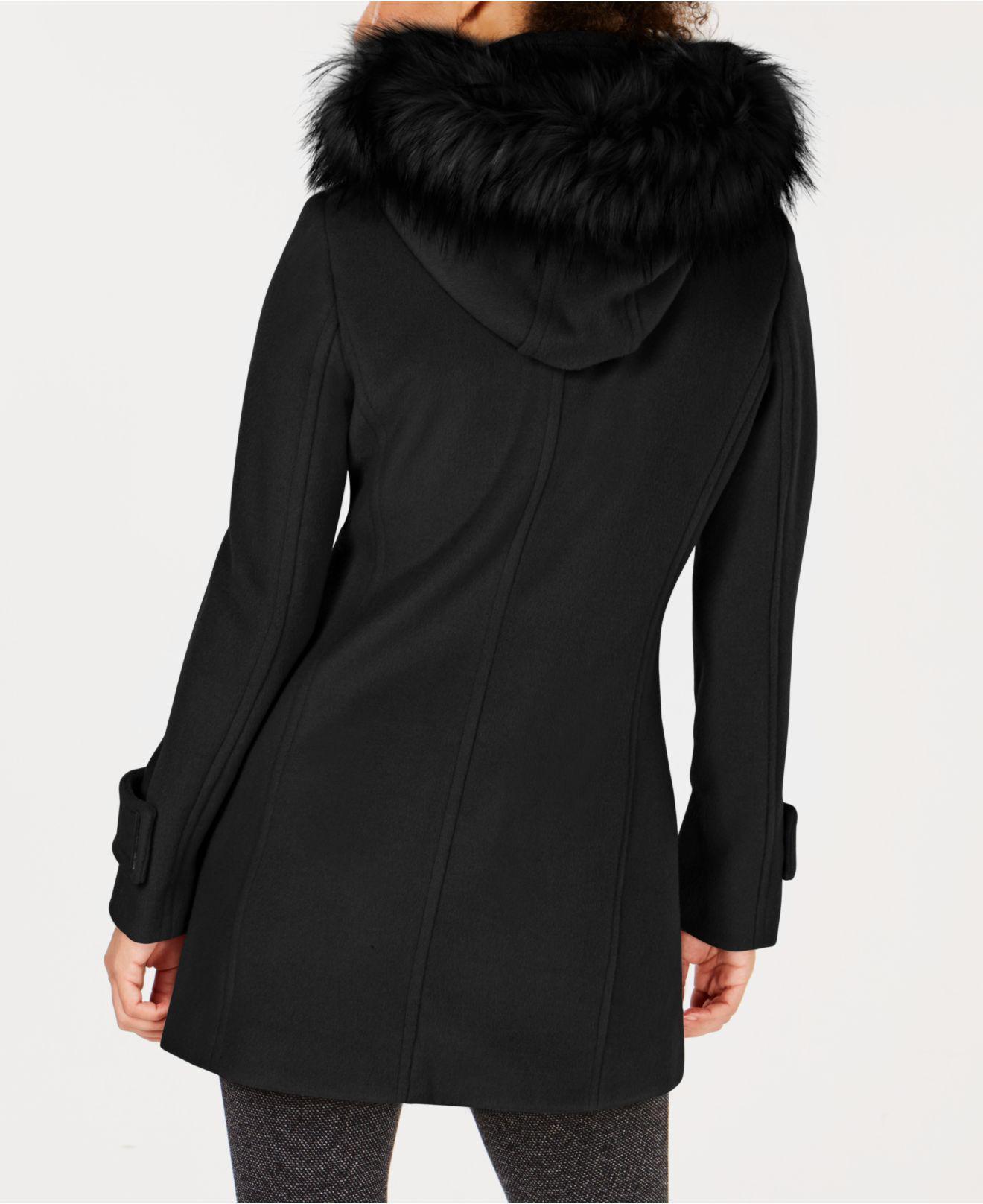 24066fe8d7da Lyst - Calvin Klein Faux-fur-trim Asymmetrical Coat in Black