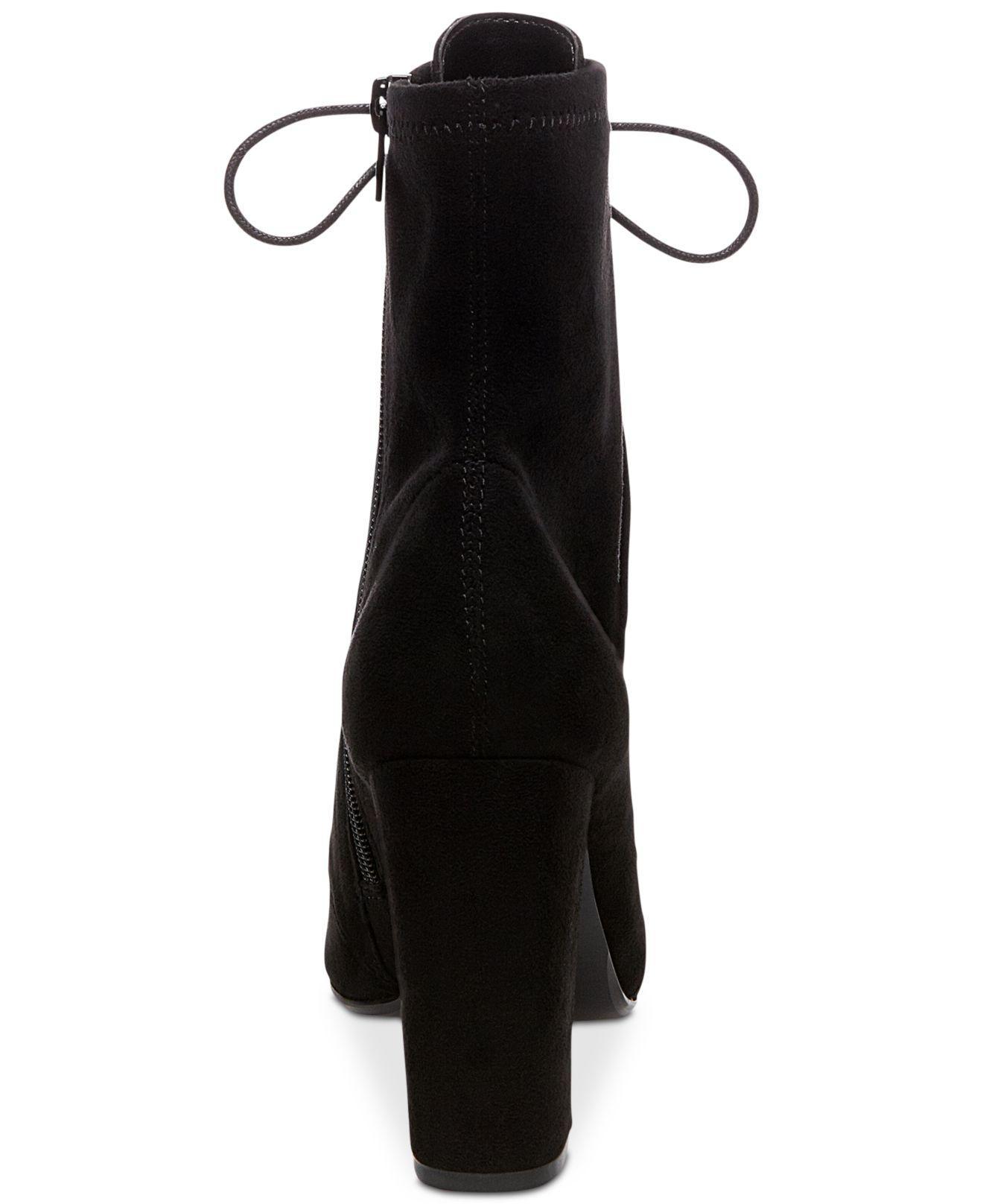 c3c260f046e2 Lyst - Steve Madden Women s Elley Lace-up Block-heel Booties in Black