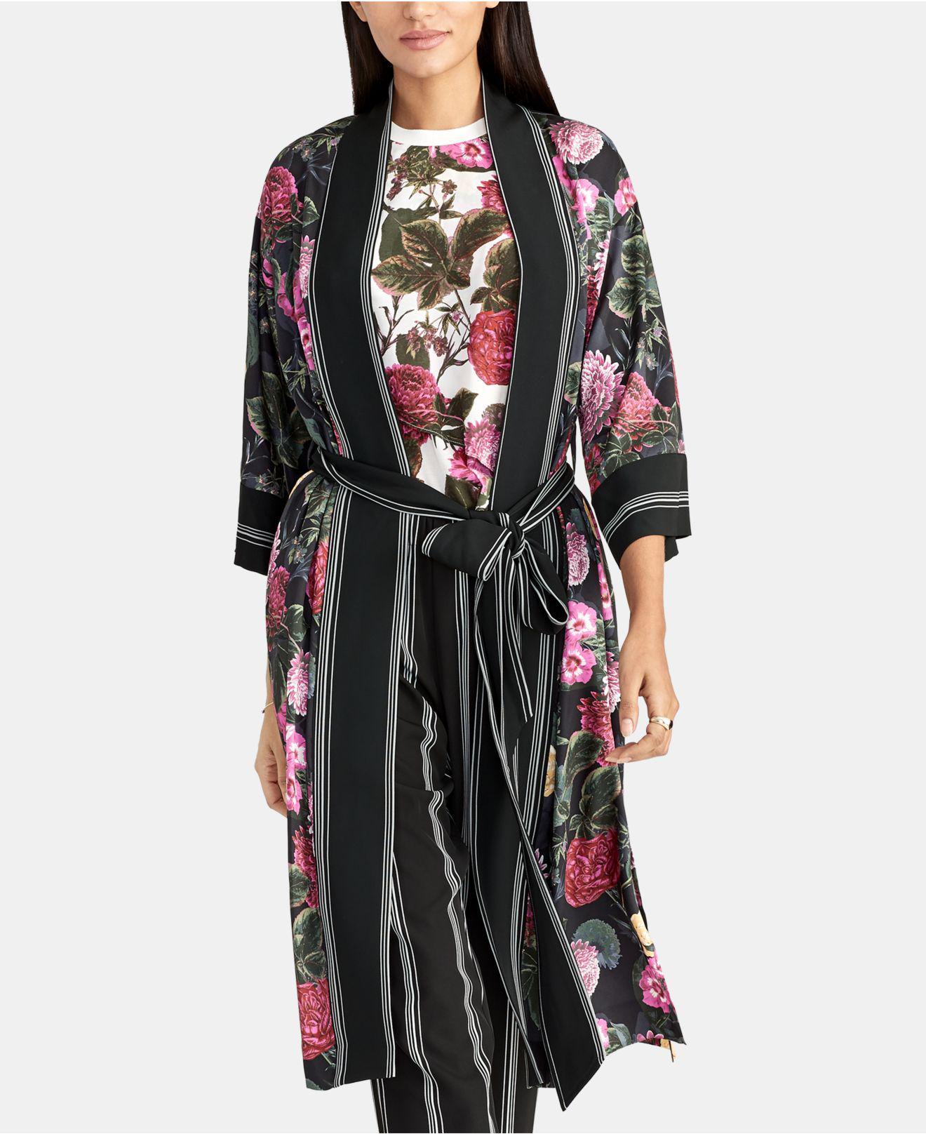 dbae65310926b Lyst - RACHEL Rachel Roy Archer Print Kimono in Black
