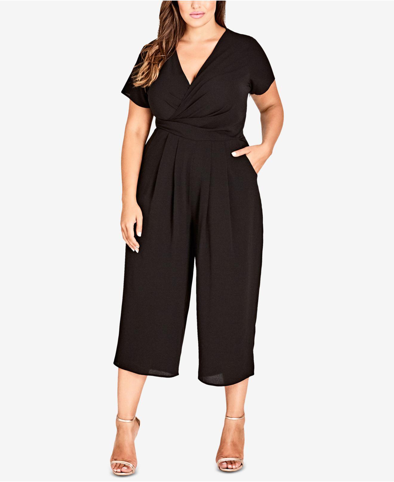 31e1a2837e92 City Chic. Women s Black Trendy Plus Size Surplice Neckline Cropped Jumpsuit