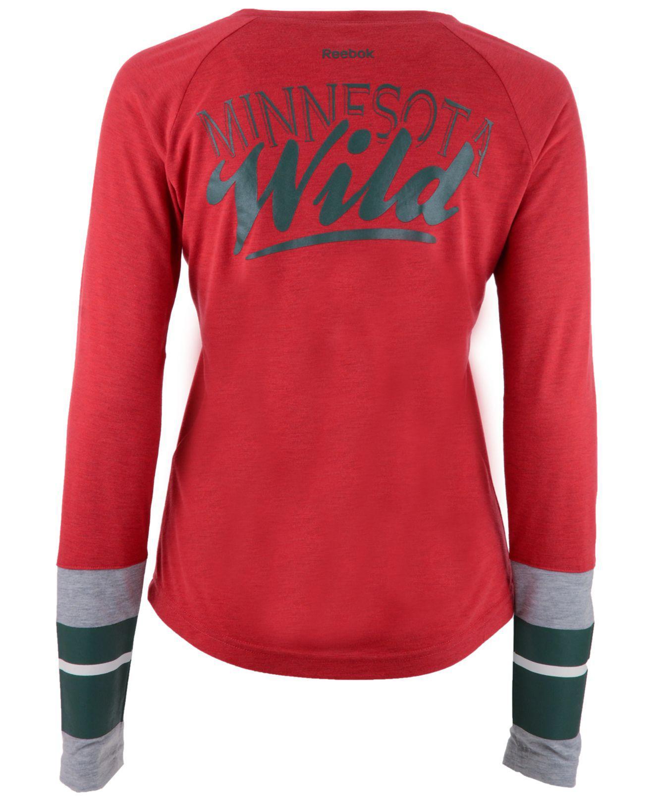 92abd7475 Lyst - Reebok Women s Stripe Henley Long Sleeve T-shirt in Red