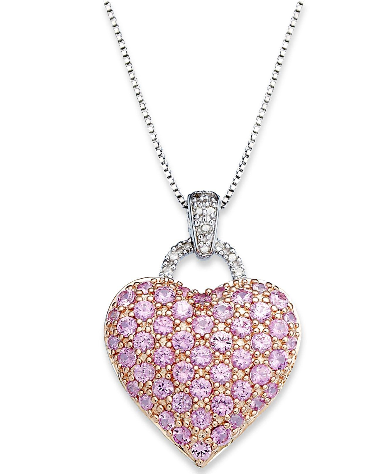 Lyst macys pink sapphire 2 14 ct tw and diamond accent view fullscreen aloadofball Image collections