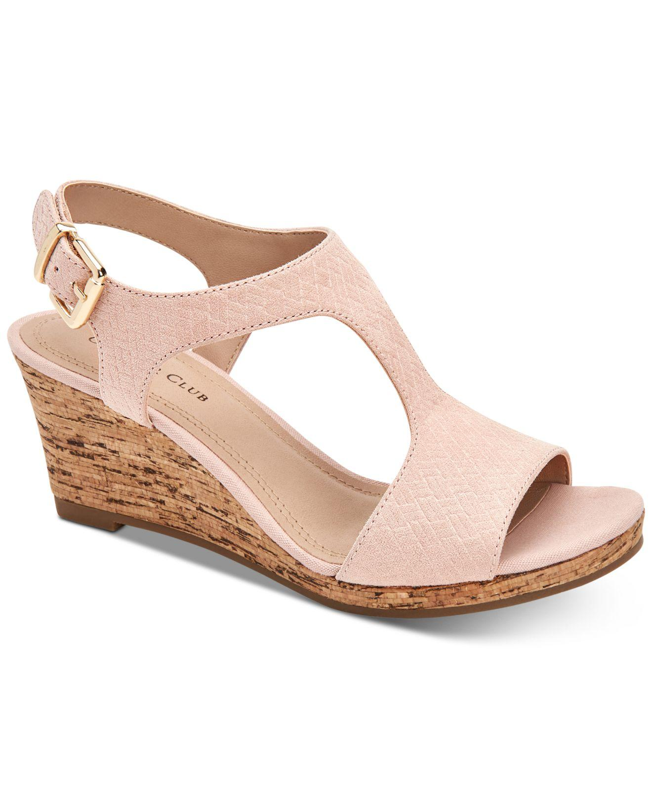 79aa53fb7e90 Lyst - Charter Club Shelbee T-strap Wedge Sandals