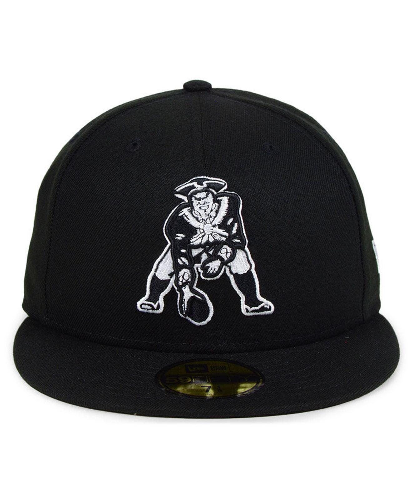 brand new 3b0ca 6201d KTZ - New England Patriots Black And White 59fifty Fitted Cap for Men -  Lyst. View fullscreen