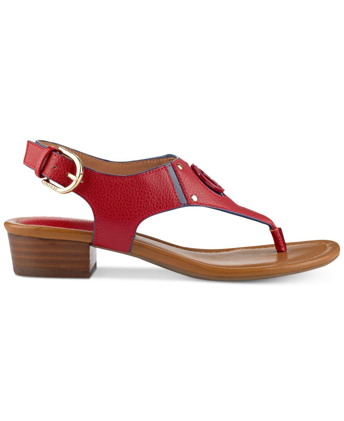 Lyst Tommy Hilfiger Kissi Block Heel Sandals In Red