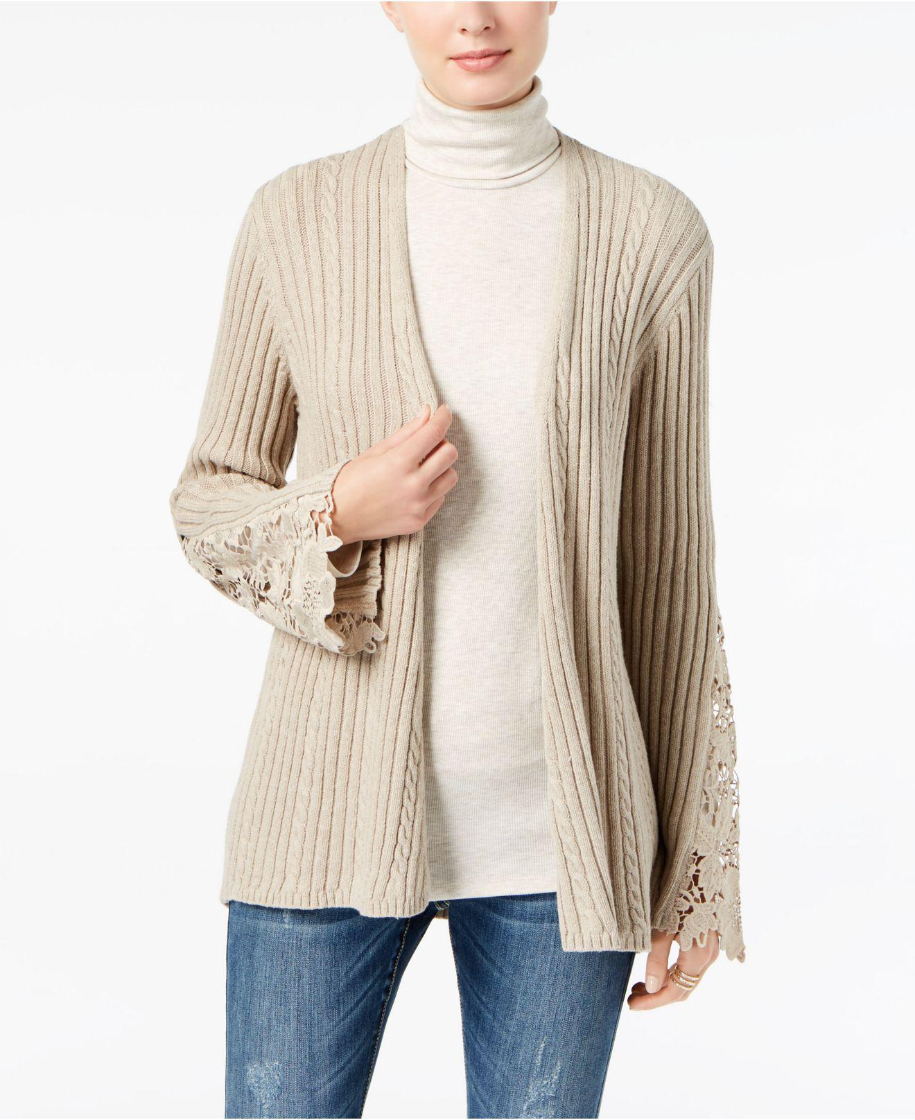 Inc international concepts Ribbed Crochet-lace Cardigan in Natural ...