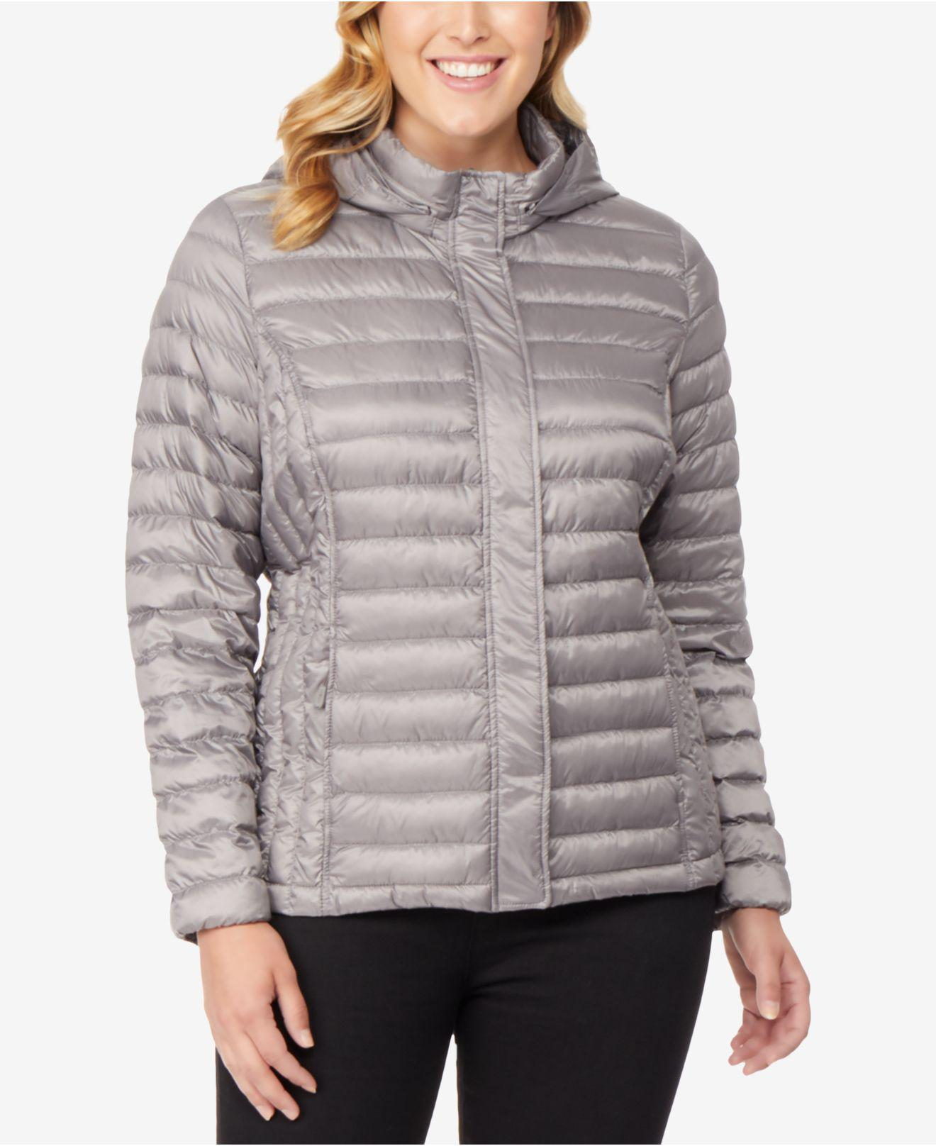 3cc986312ab Lyst - 32 Degrees Plus Size Hooded Puffer Coat in Gray - Save 23%